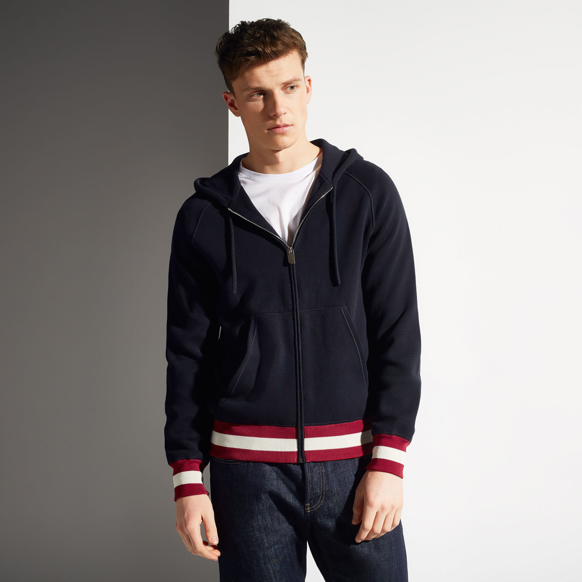 Bally Zipped Sweater In Blue For Men Lyst