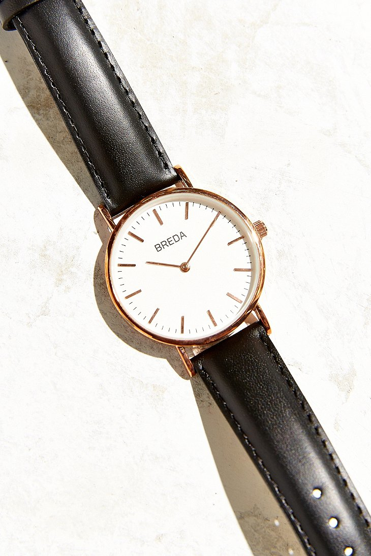 Breda Simple Black Leather Strap Watch In Black Lyst