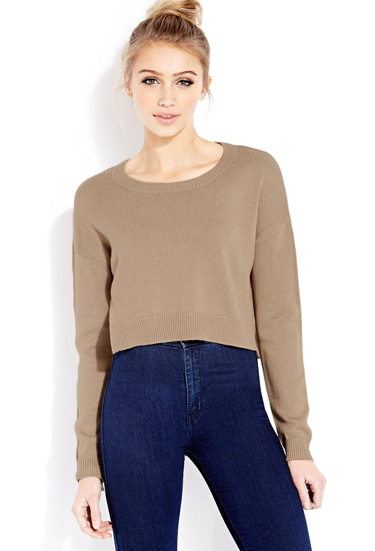 Forever 21 Drop-sleeve Cropped Sweater in Brown | Lyst