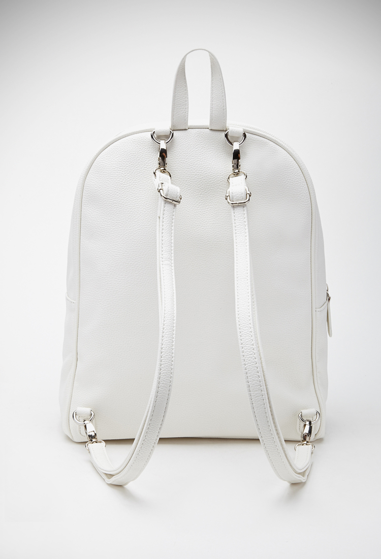 Forever 21 Pebbled Faux Leather Backpack in Natural