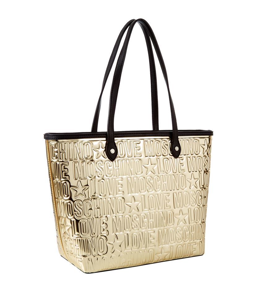 love moschino embossed top zip large shopper bag in metallic lyst. Black Bedroom Furniture Sets. Home Design Ideas