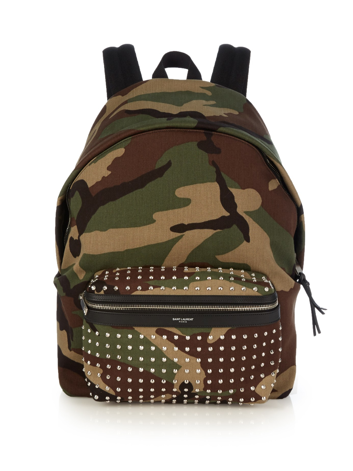 9297ac1d6 Saint Laurent Camouflage-print Studded Canvas Backpack in Green for ...
