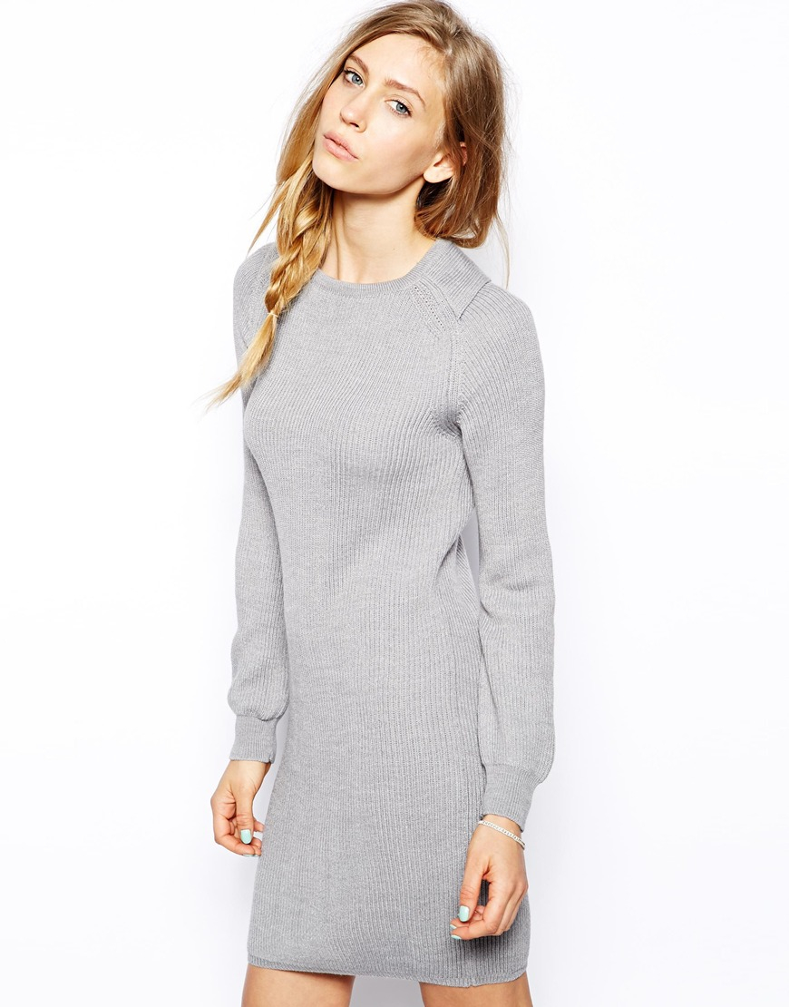 Le mont st michel Long Sleeve Sweater Dress in Gray