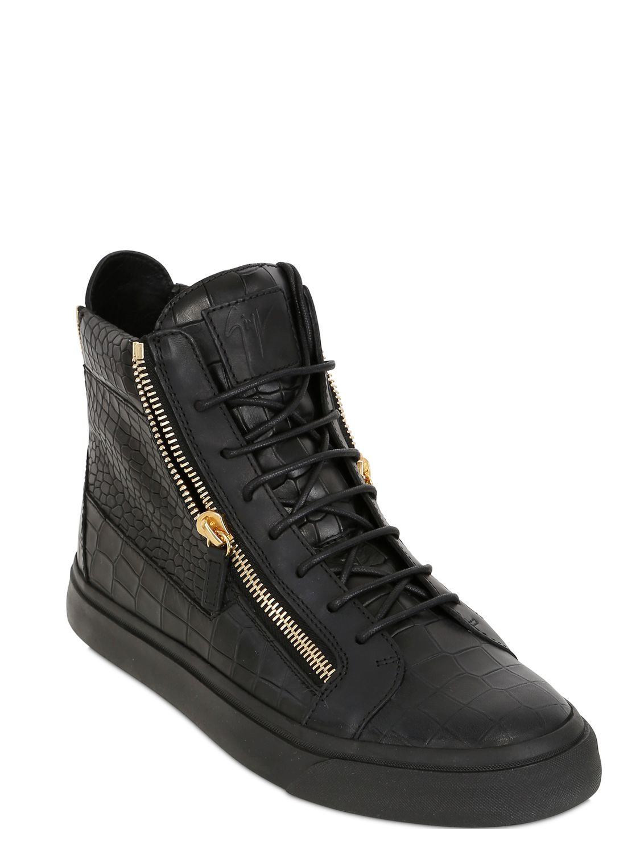 Lyst Giuseppe Zanotti Croc Embossed Leather High Top