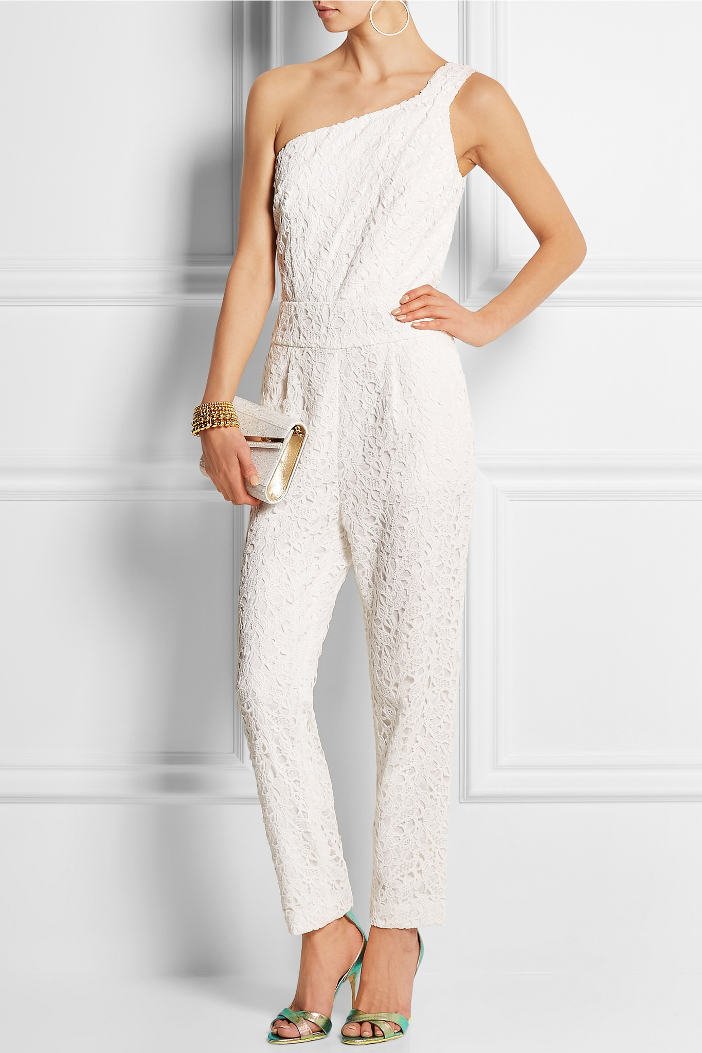 3a0a355bc9db J.Crew Nia Bridal One-shoulder Floral-lace Jumpsuit in White - Lyst