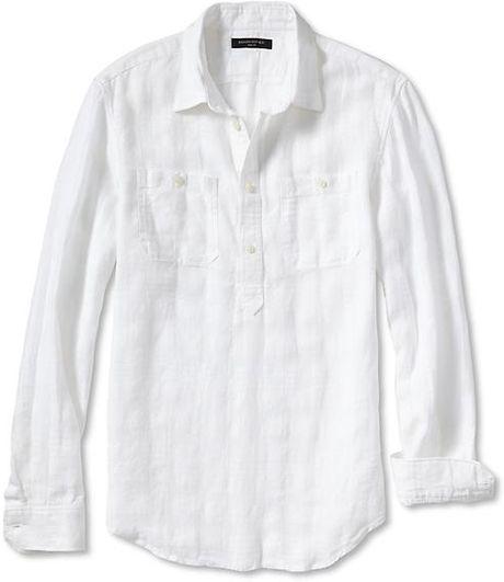 Banana Republic Slim Fit Linen Cotton Popover Shirt In