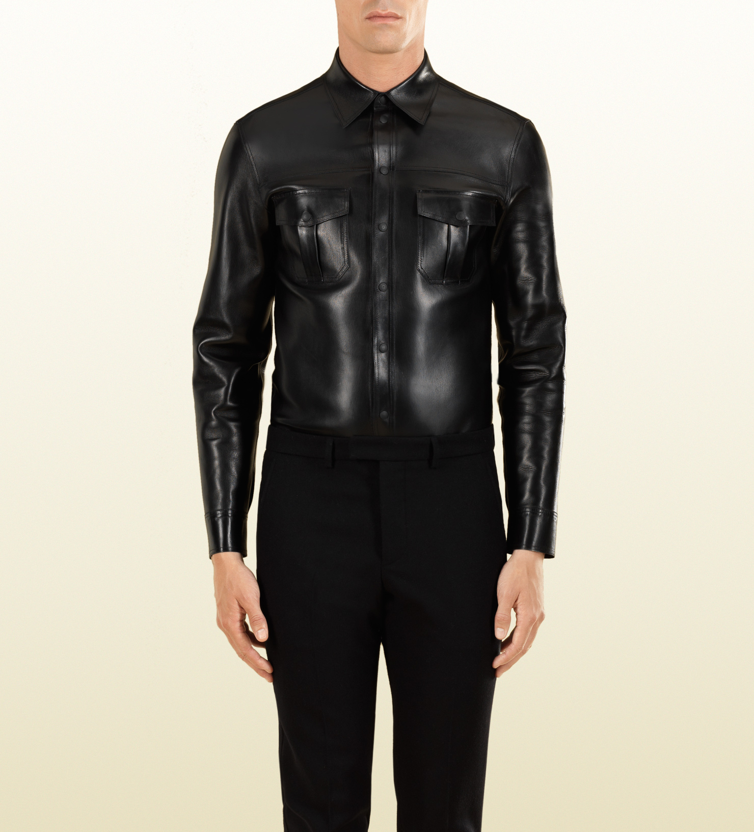 lyst gucci leather buttondown shirt in black for men. Black Bedroom Furniture Sets. Home Design Ideas