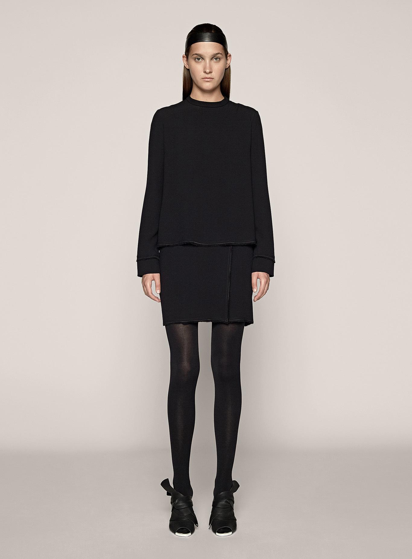 Proenza schouler long sleeve shift dress in black lyst