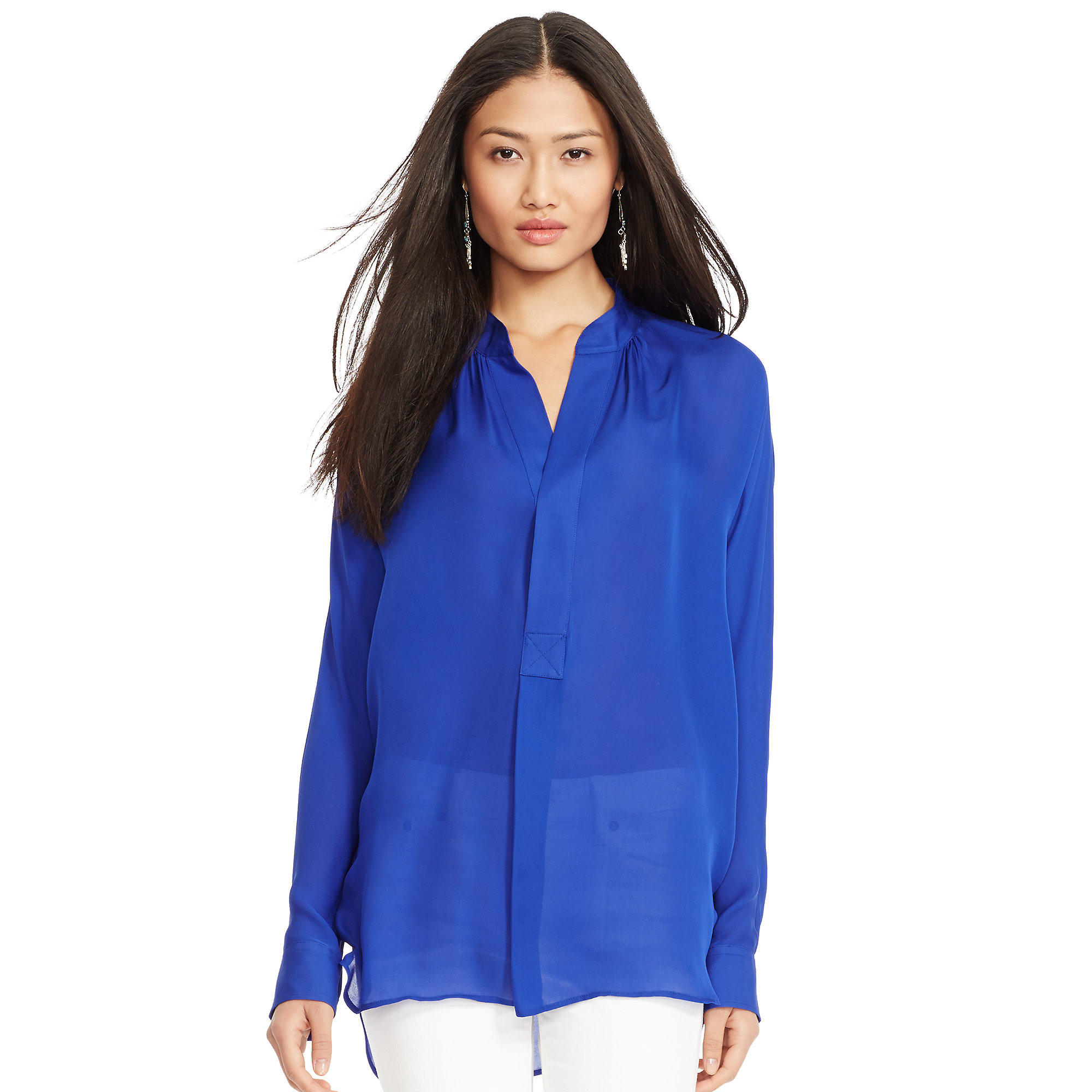 2d9e6a99a63319 Lyst - Polo Ralph Lauren Silk Georgette Blouse in Blue