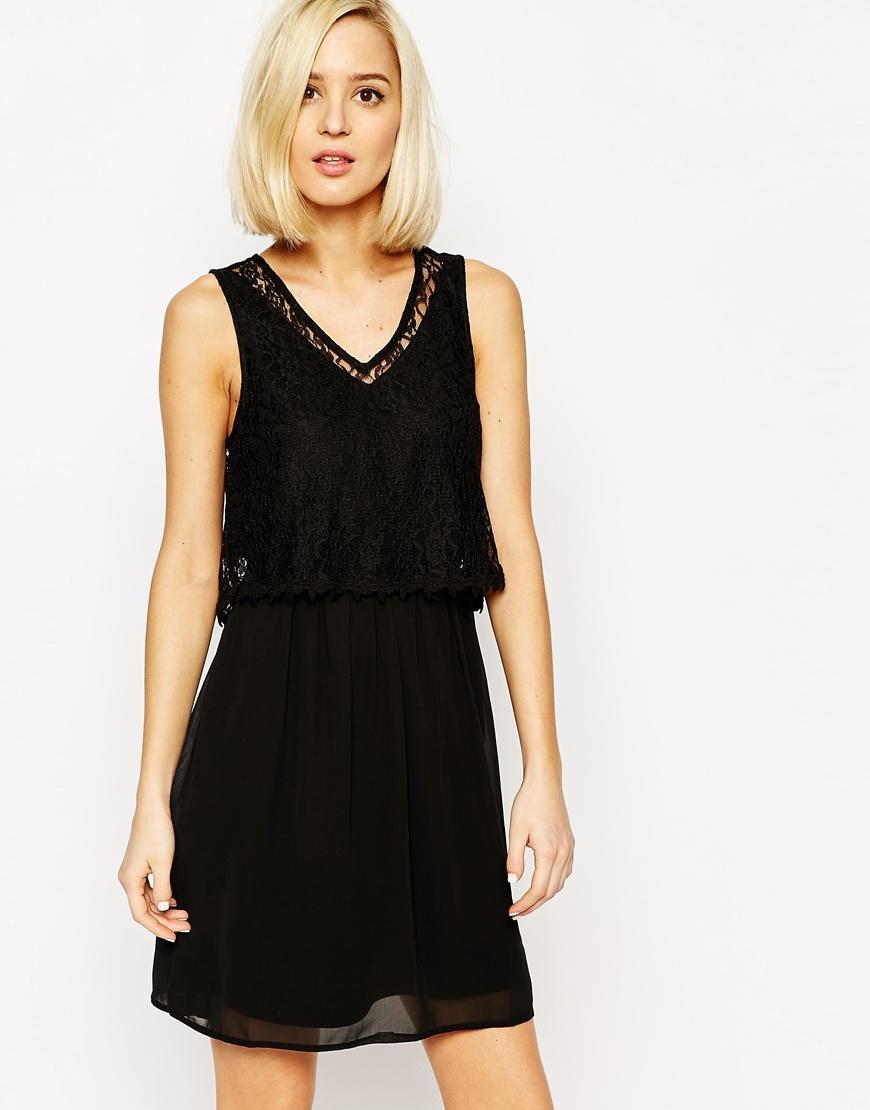 vero moda lace detail dress in black lyst. Black Bedroom Furniture Sets. Home Design Ideas