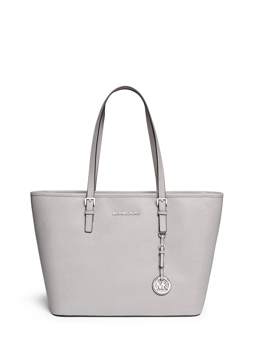 1db854693616 Michael Kors  jet Set Travel  Saffiano Leather Top Zip Tote in Gray ...