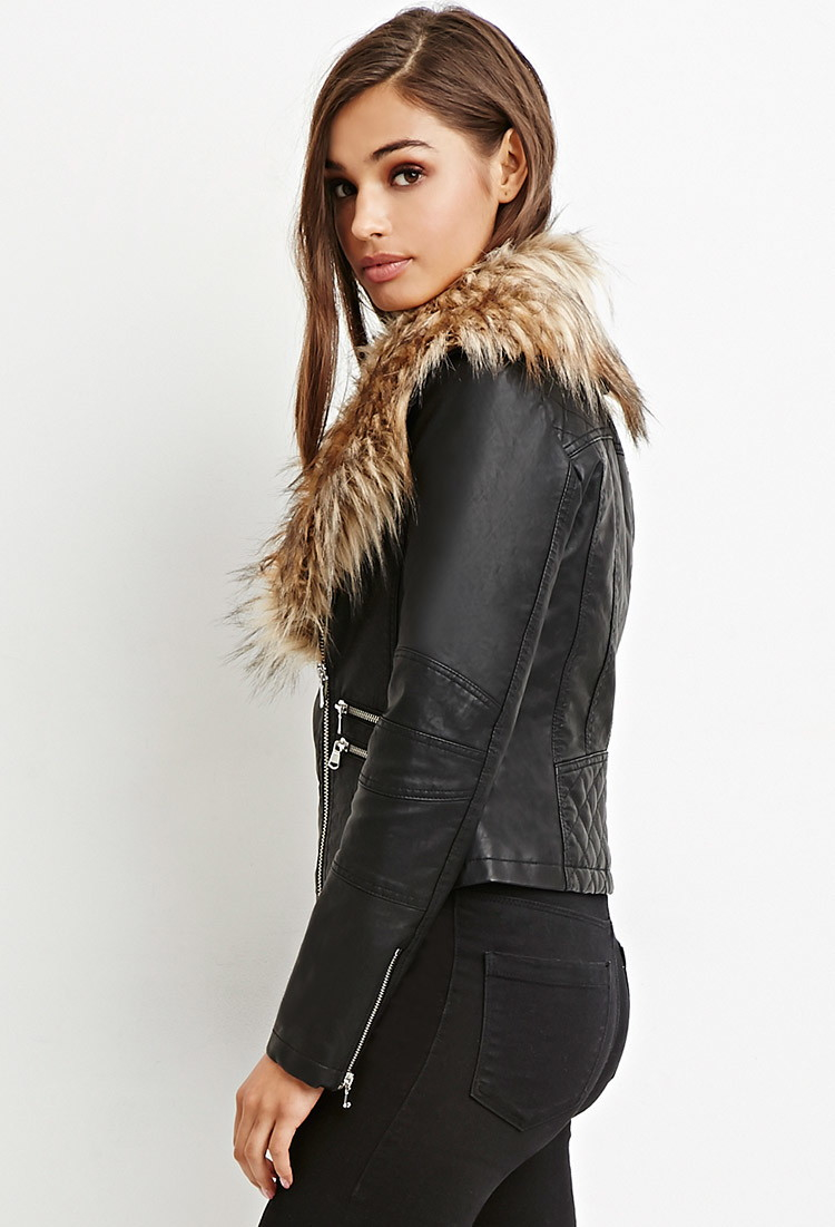 f49dbf037a1 Forever 21 Faux Fur-trimmed Moto Jacket in Black - Lyst