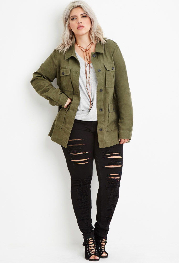 bd2c7bd736 Forever 21 Plus Size Utility Jacket in Green - Lyst