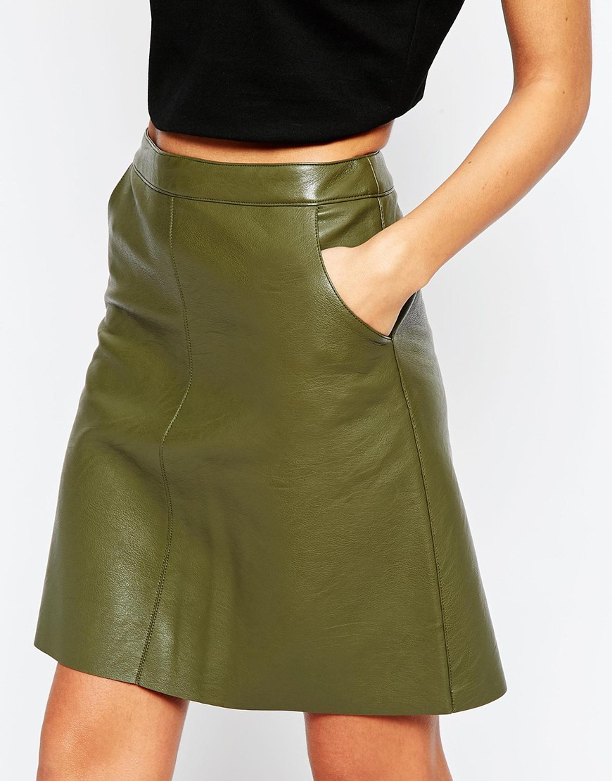 Warehouse Faux Leather A Line Skirt in Green | Lyst