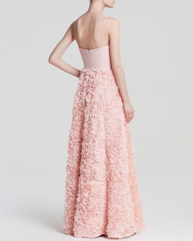 Lyst - Aidan Mattox Gown - Strapless Corset Rosette in Pink