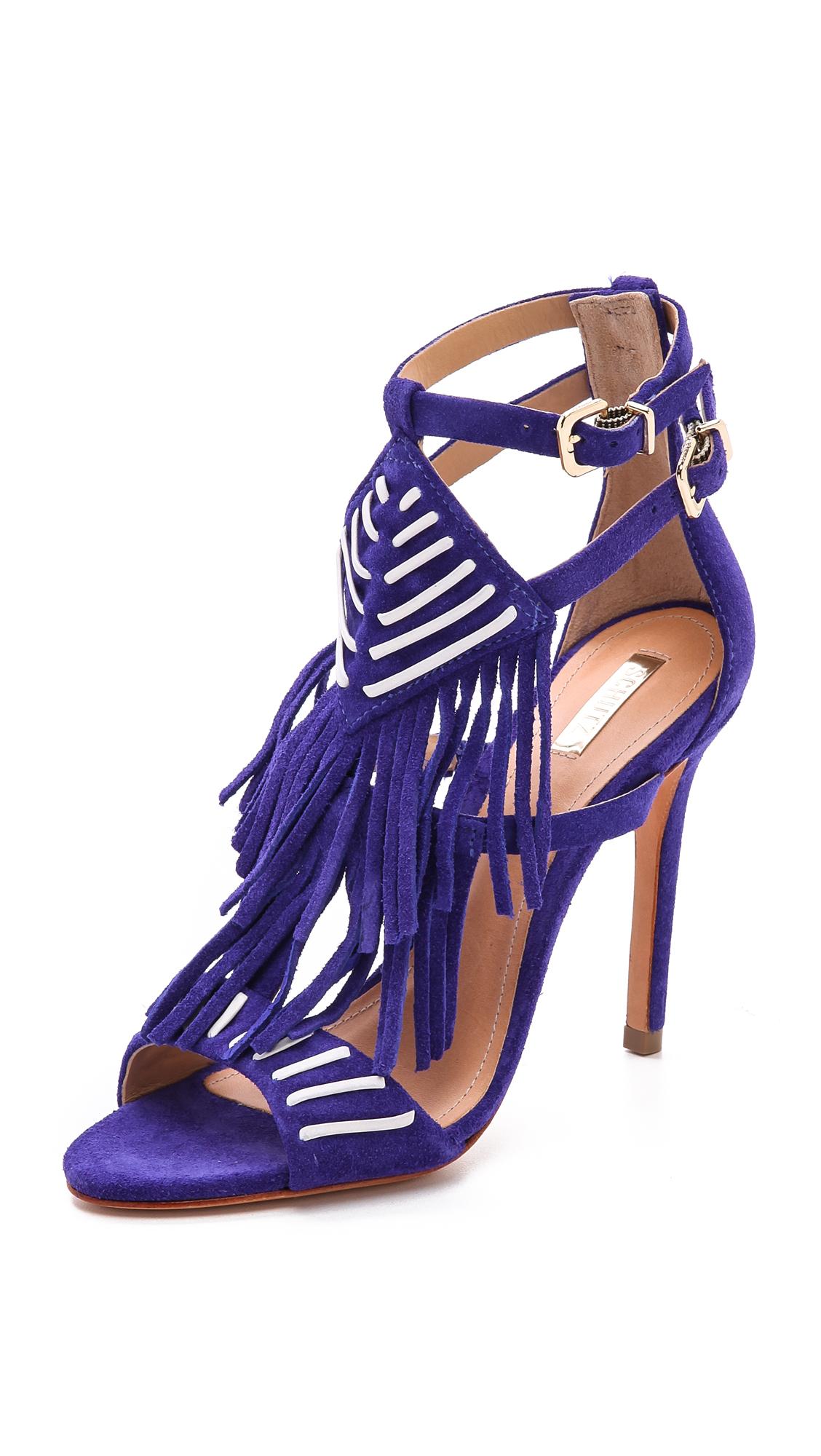 Lyst Schutz Fiza Fringe Sandals In Purple