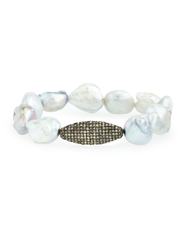 Bavna Baroque Pearl Stretch Bracelet w/ Pavé GU70CxNWeE