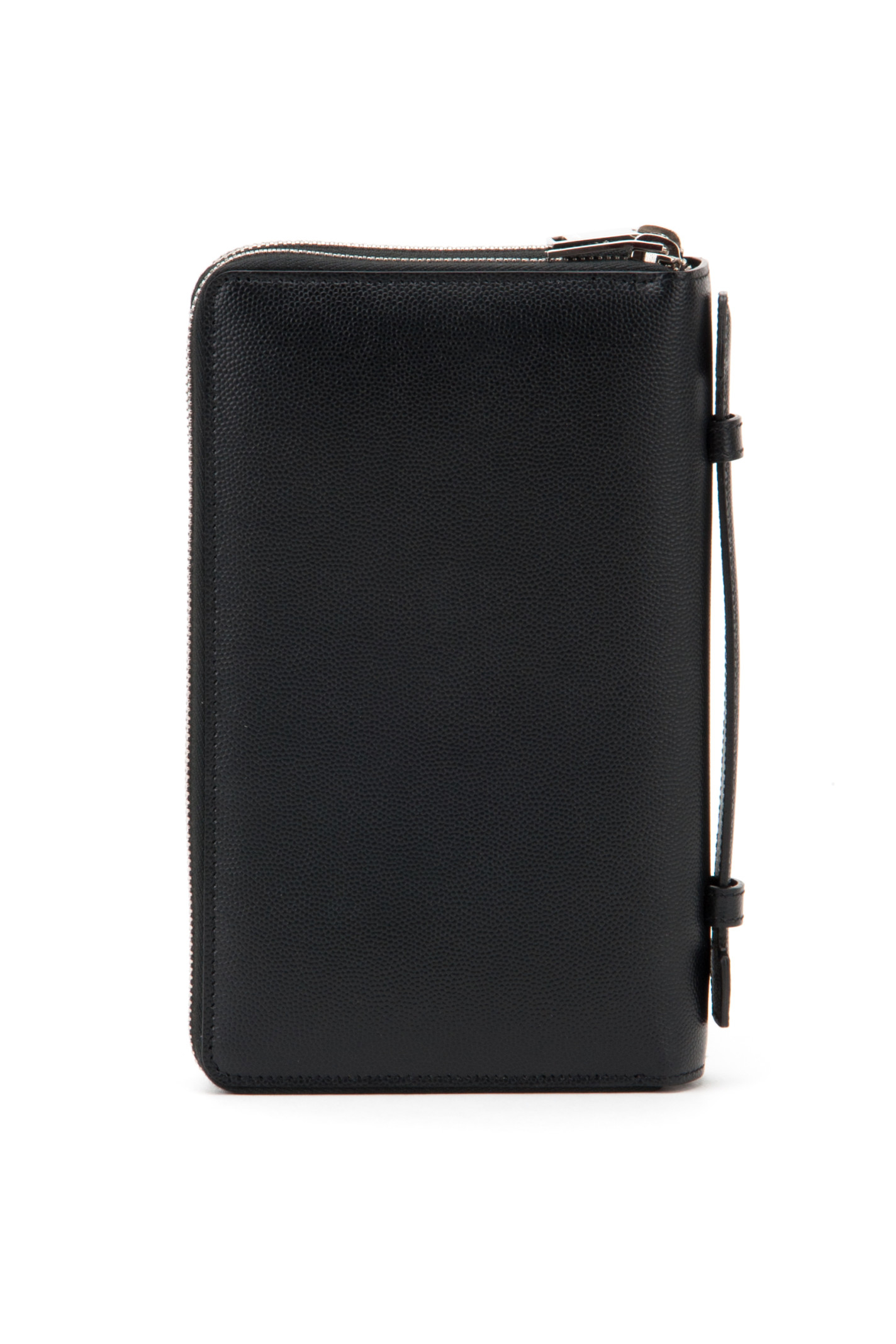 Saint laurent Ysl Grain De Poudre Leather Wallet in Black for Men ...