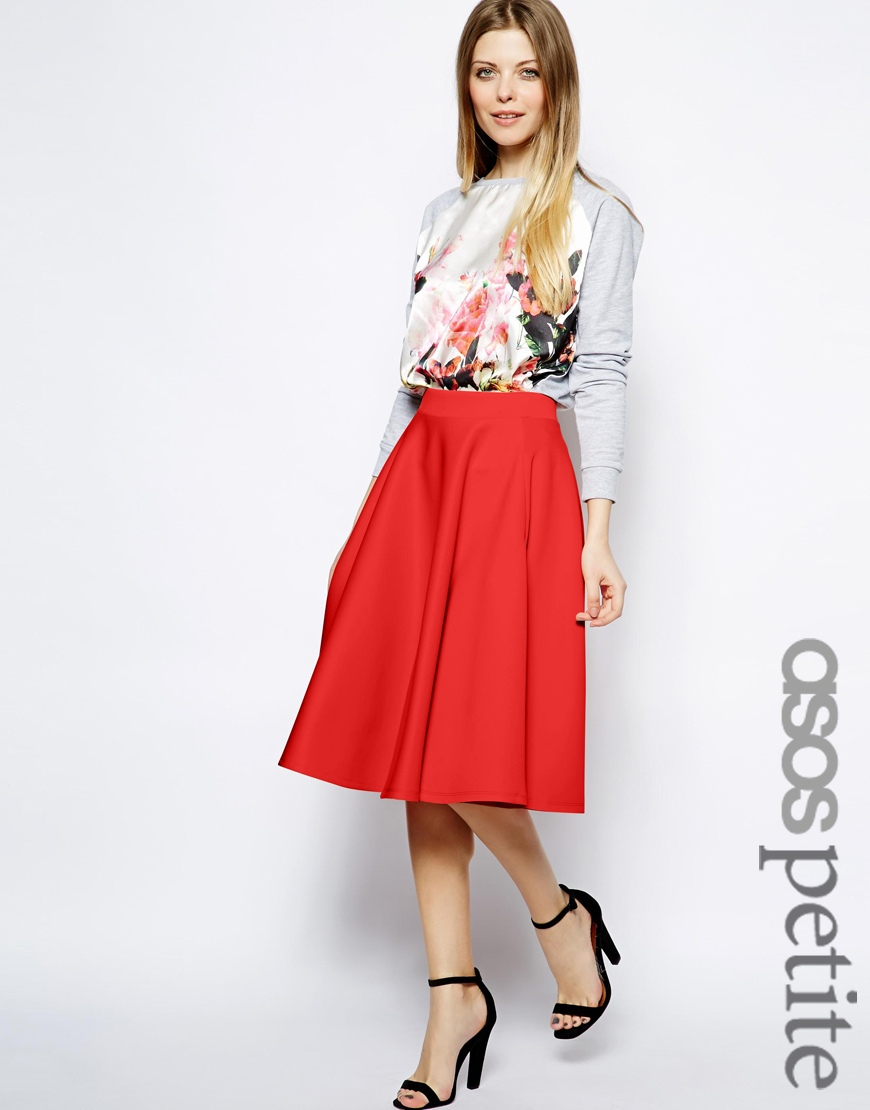 Asos Full Midi Skirt In Scuba With Pockets in Red | Lyst