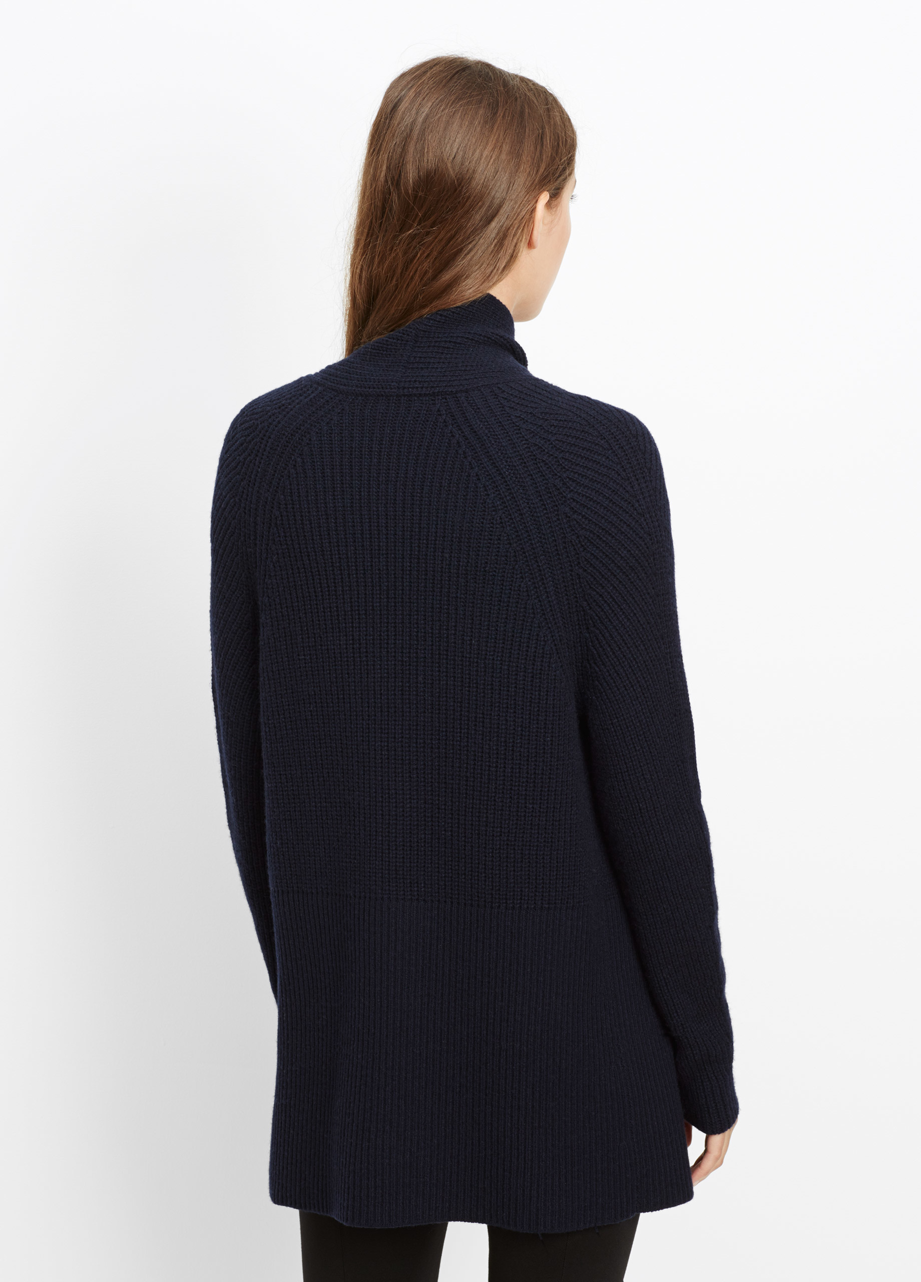 Vince Wool Cashmere Directional Rib Open Front Cardigan in Blue | Lyst