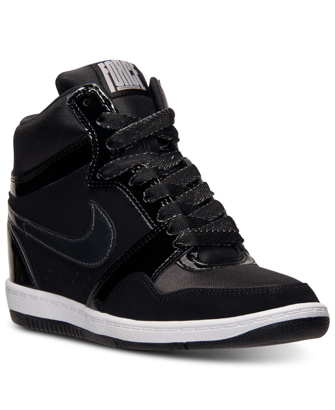 lyst nike women 39 s force sky high casual sneakers from finish line in black. Black Bedroom Furniture Sets. Home Design Ideas