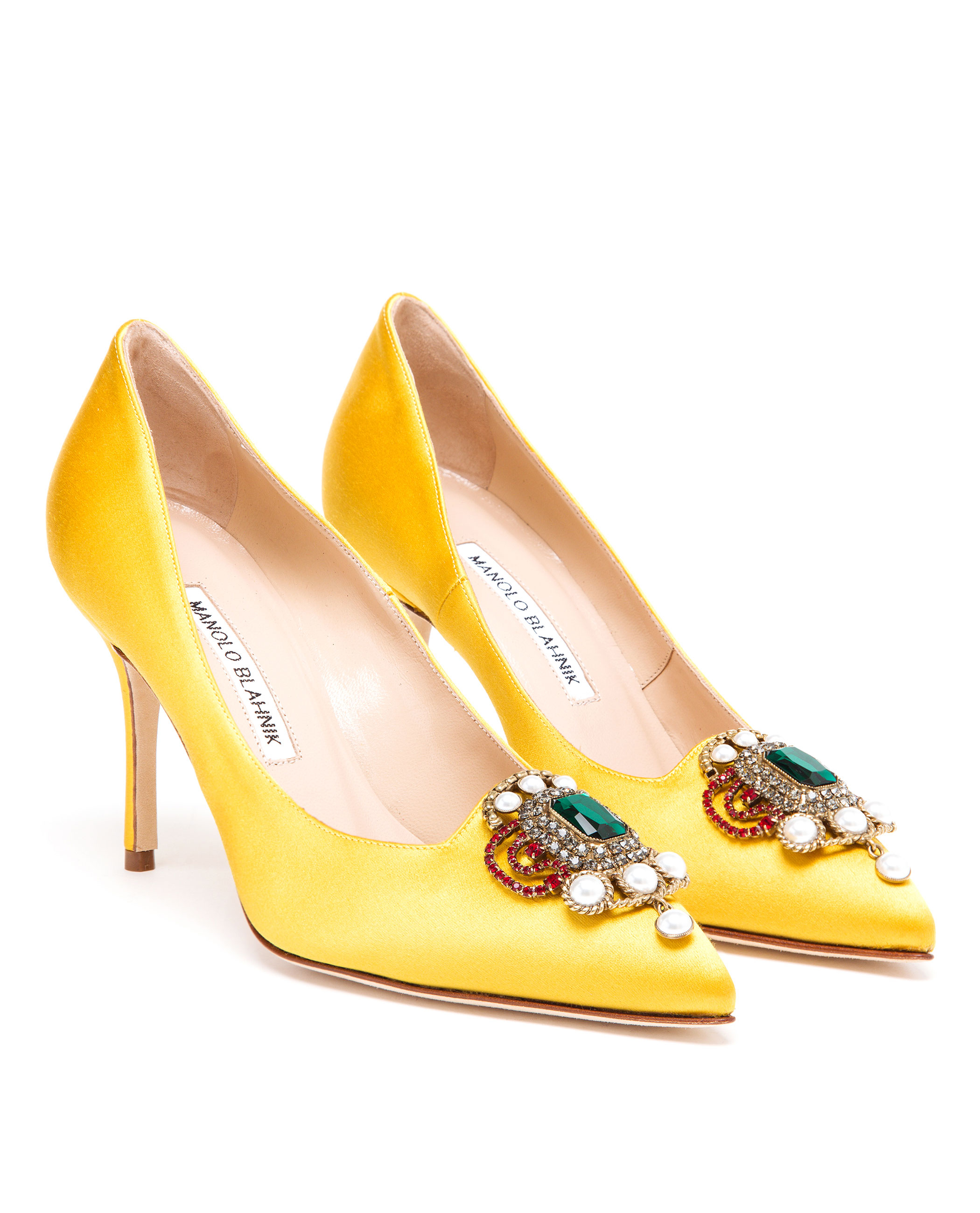 Lyst manolo blahnik eufrasia high heeled satin pumps in for Who is manolo blahnik