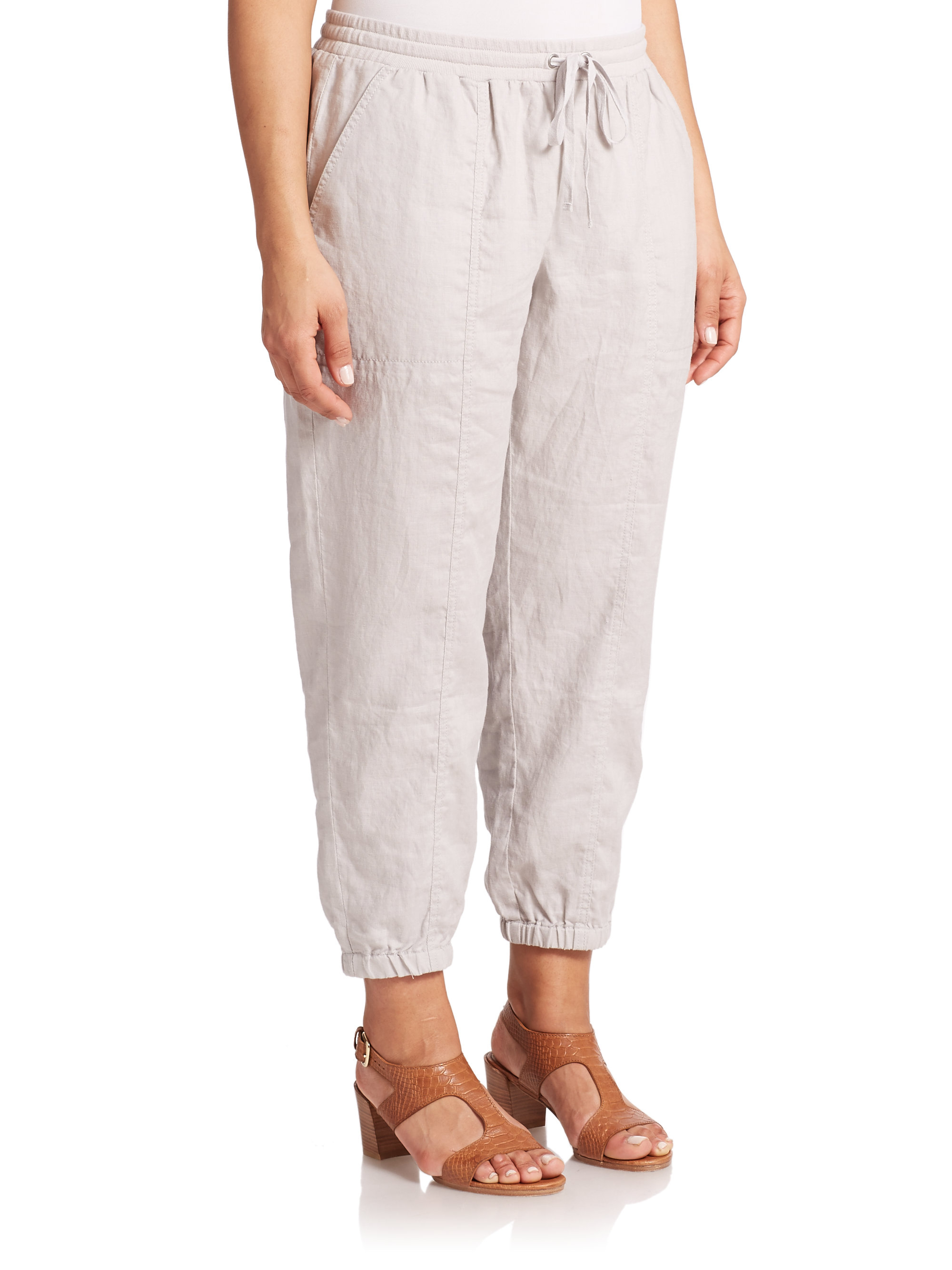 Eileen fisher Linen Cropped Pants in Natural | Lyst