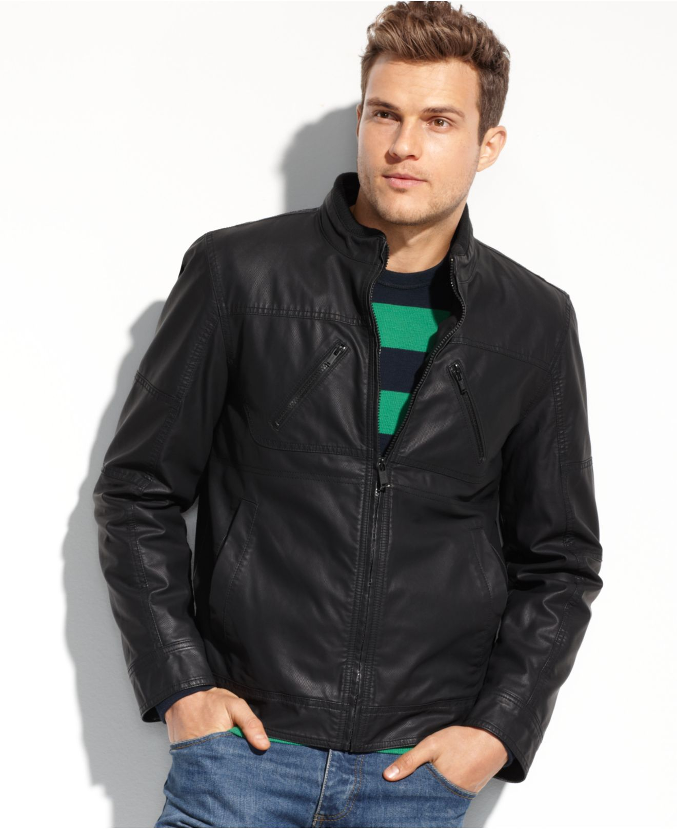 Lyst Guess Coats Lightweight Faux Leather Moto Jacket