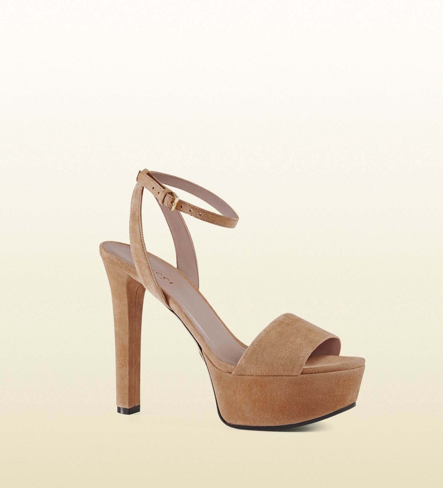 dcf029e8ebf Lyst - Gucci Leila Suede Platform Sandal in Pink