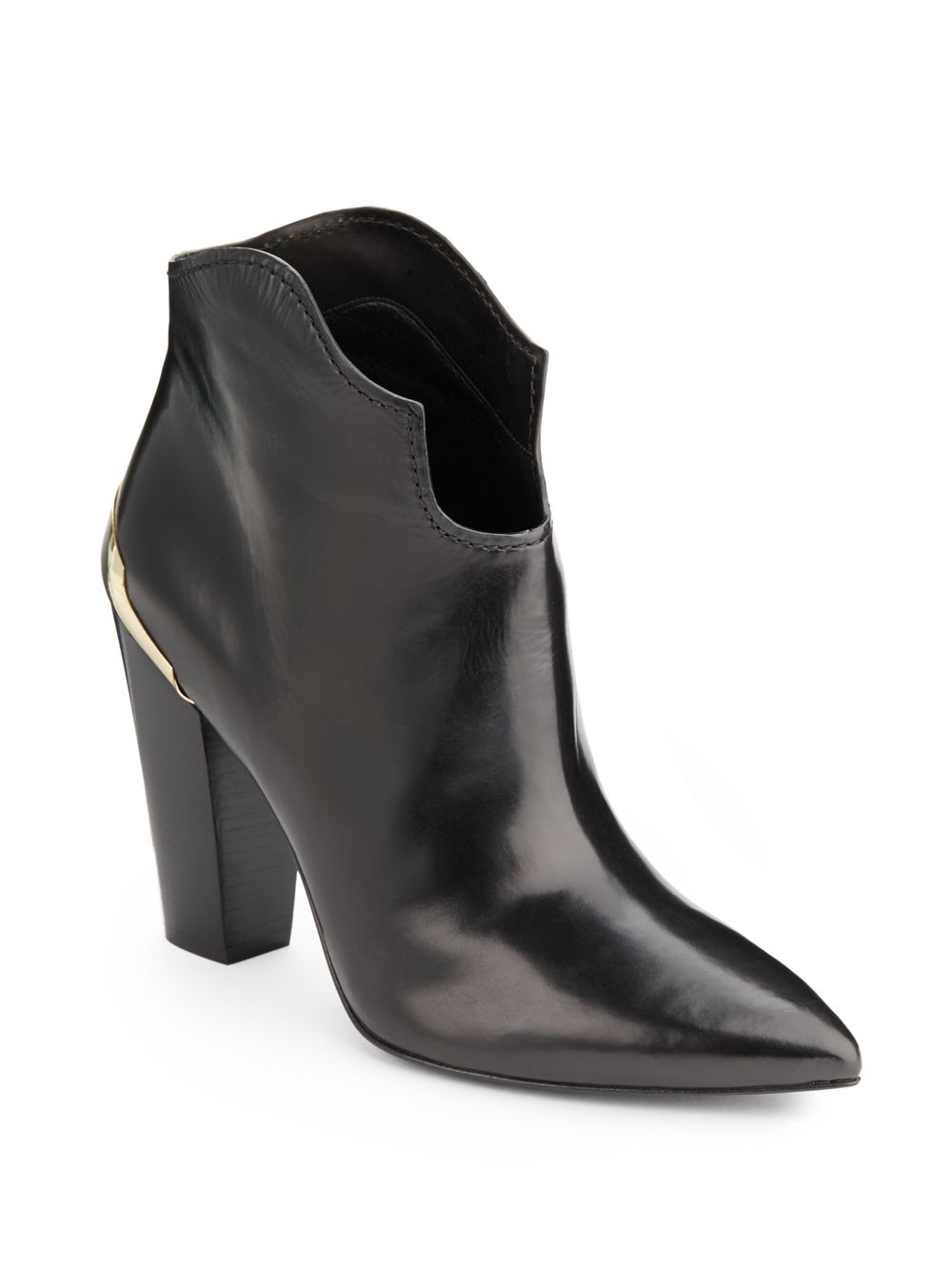 edc41607cae0 Sigerson Morrison Vesta Lacquer trimmed Leather Ankle Boots in Black ...