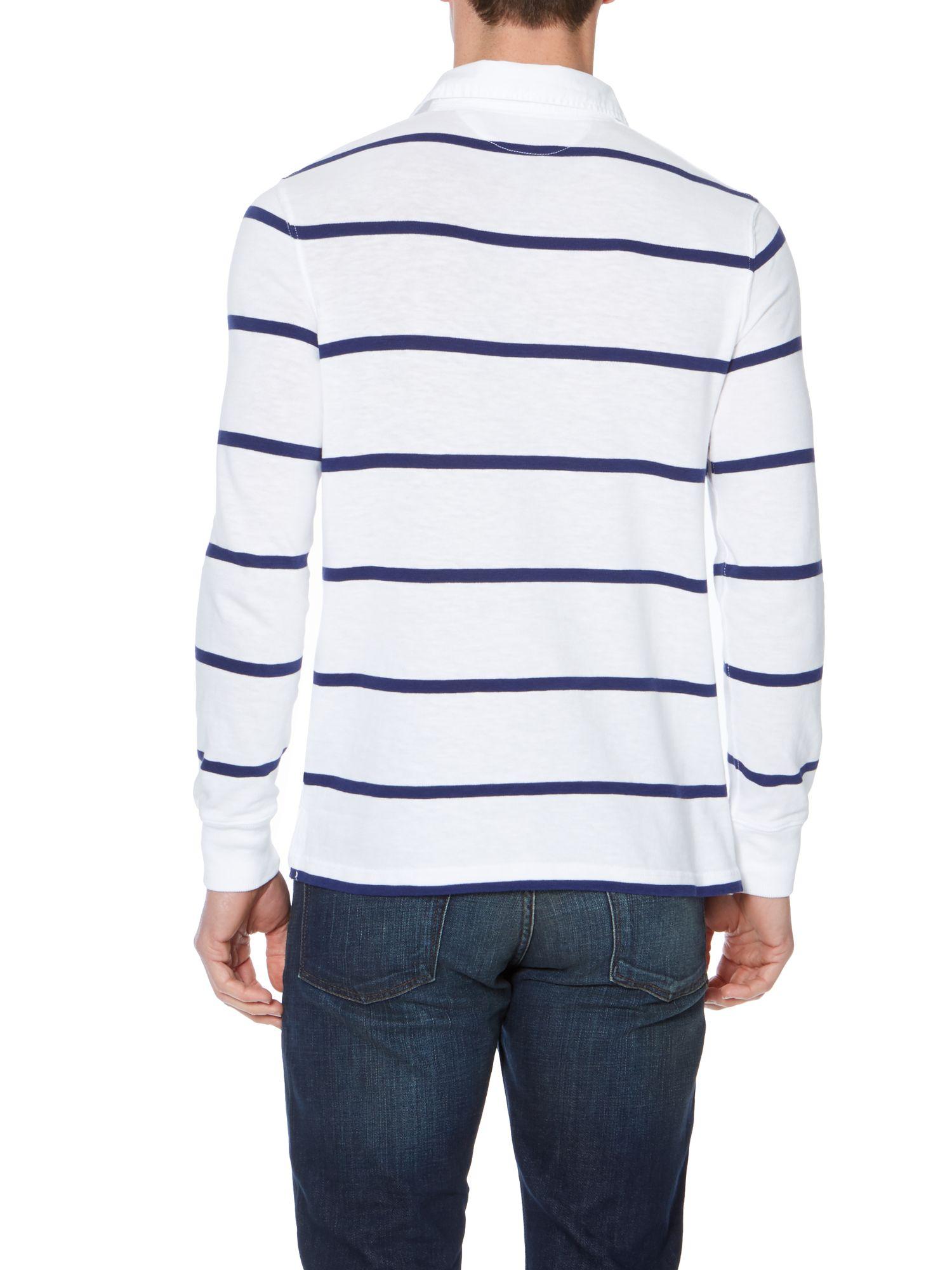 Polo ralph lauren custom fit long sleeve striped rugby for Long sleeve striped rugby shirt
