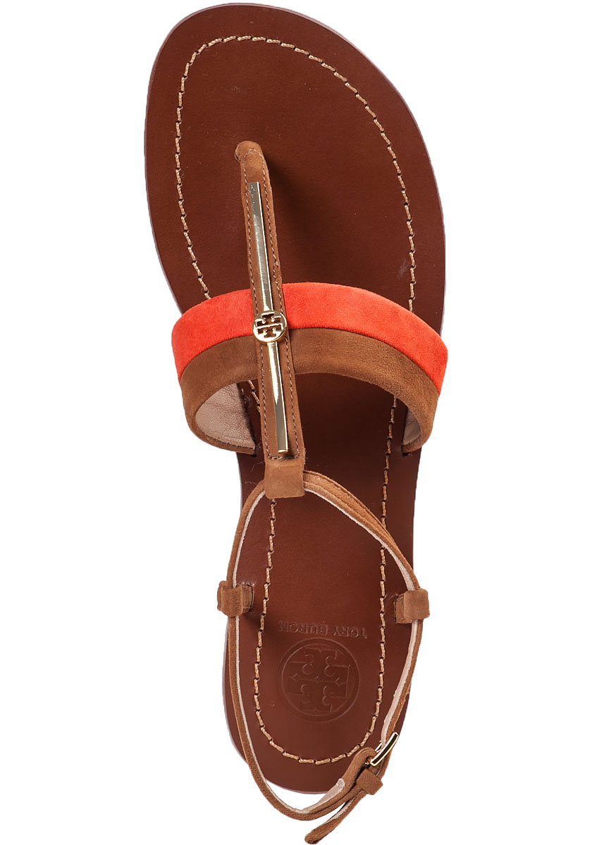 Lyst Tory Burch Bar Logo Flat Sandal Natural Suede In Orange