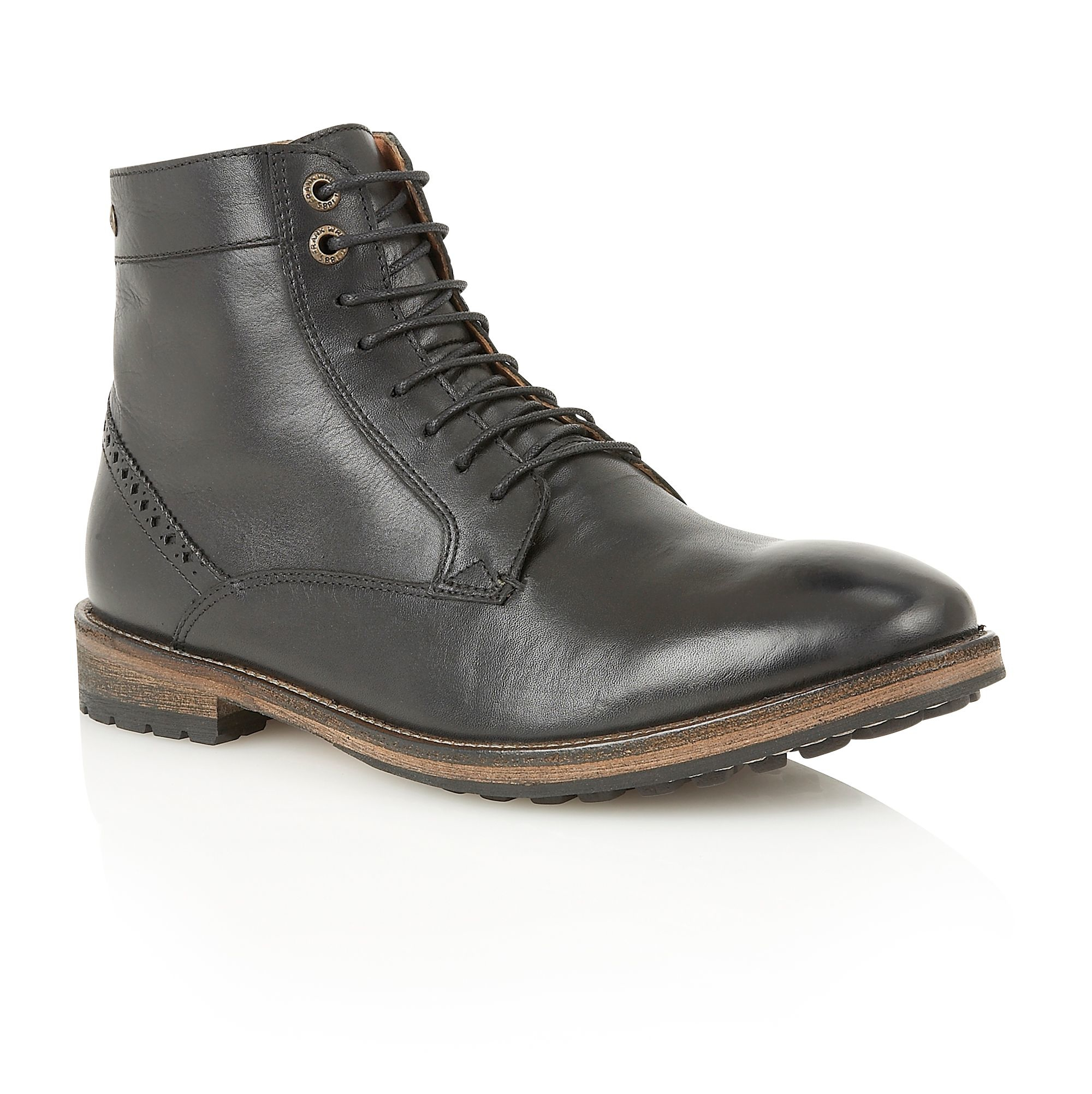 frank wright mens lace up boots in black for lyst