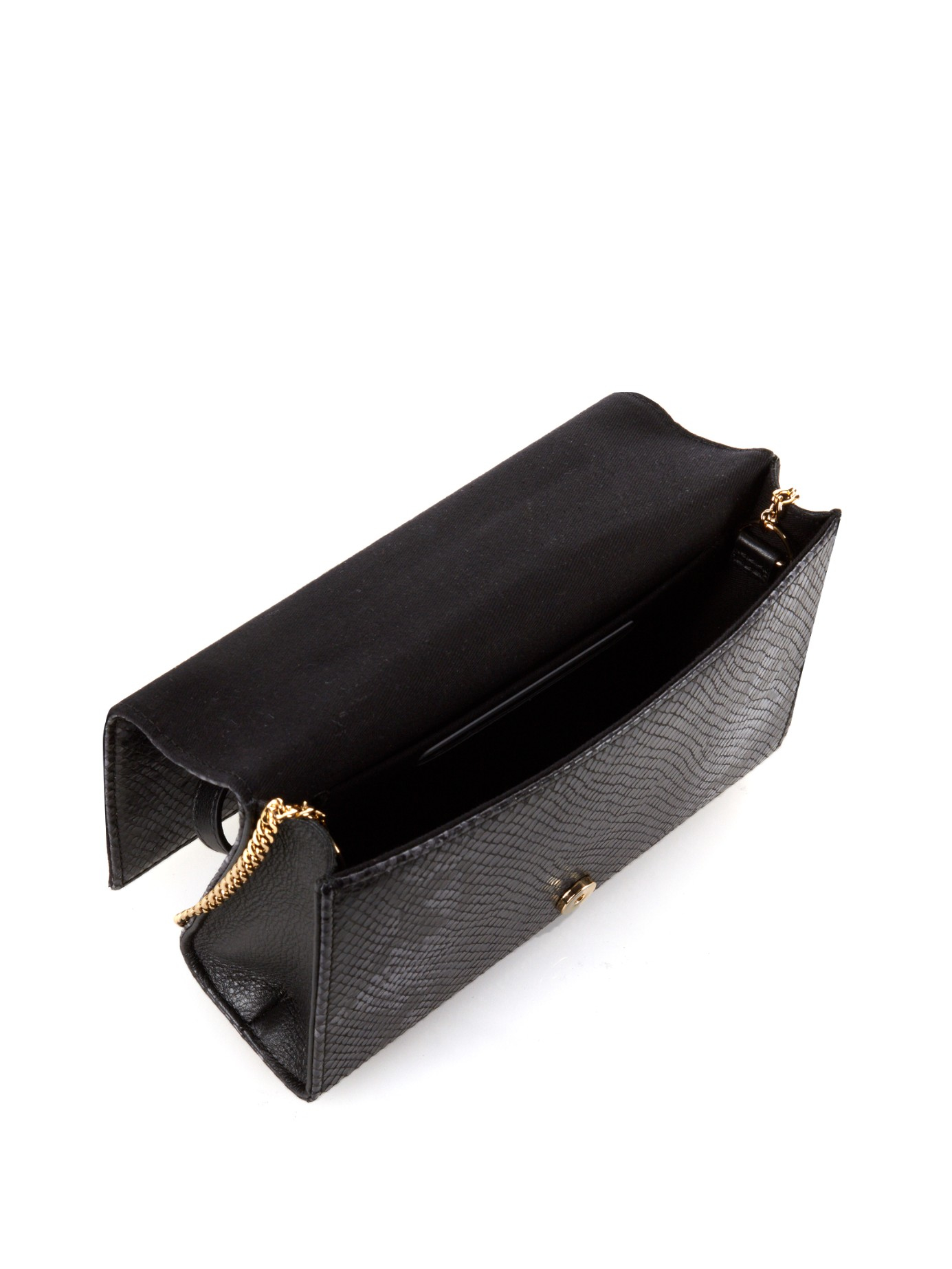 See by chlo�� Nora Python-effect Leather Clutch in Black (BLACK ...