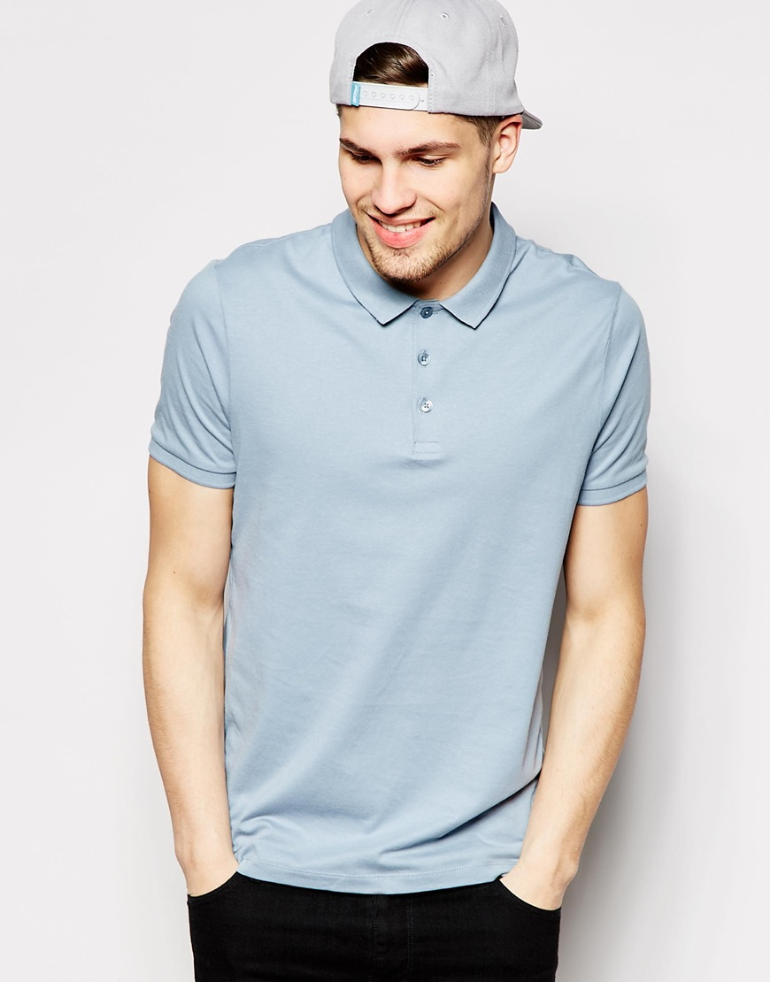 Asos Polo Shirt In Jersey In Blue For Men Lyst