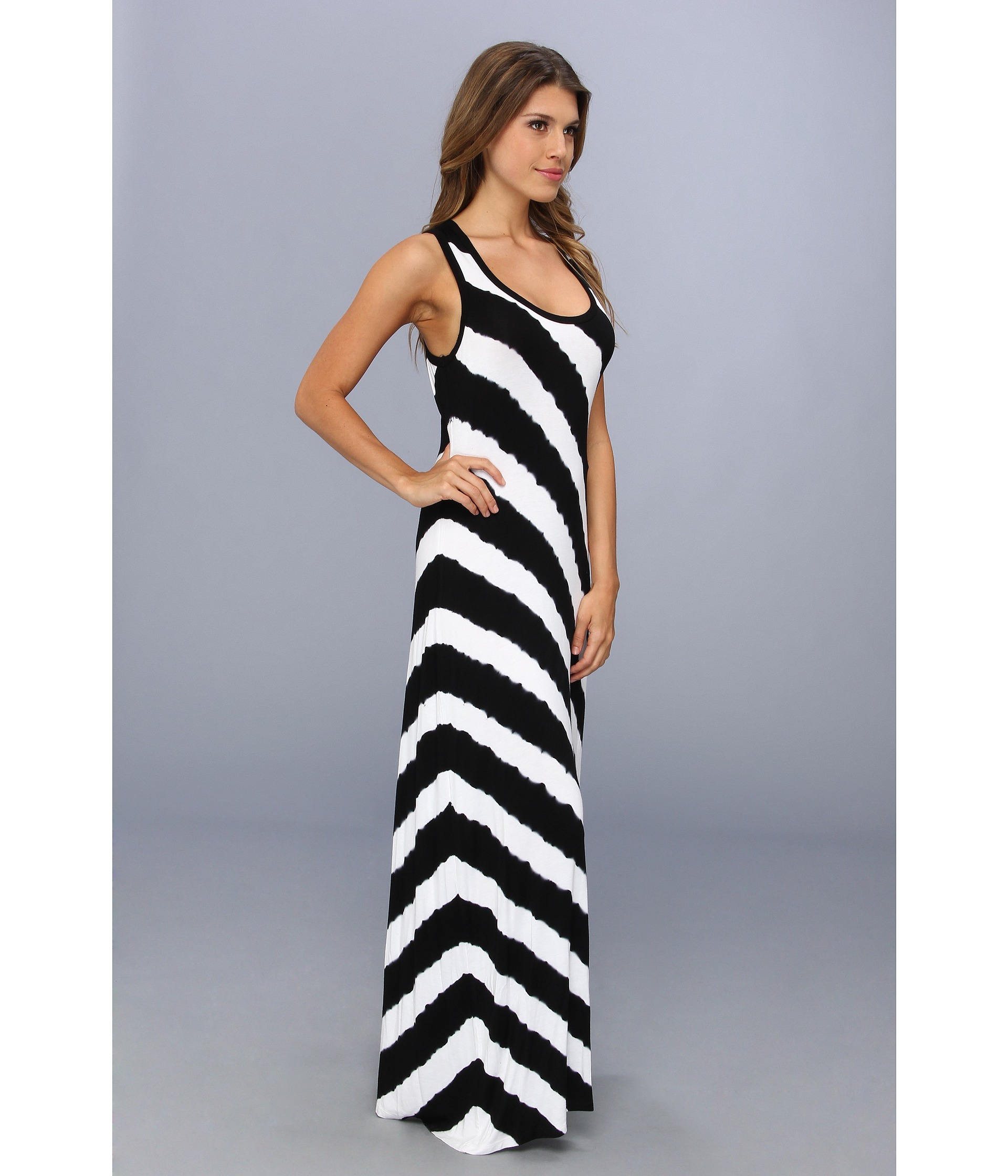 8ec95ad84b6 Calvin Klein Tie Dye Striped Maxi Dress in Black - Lyst