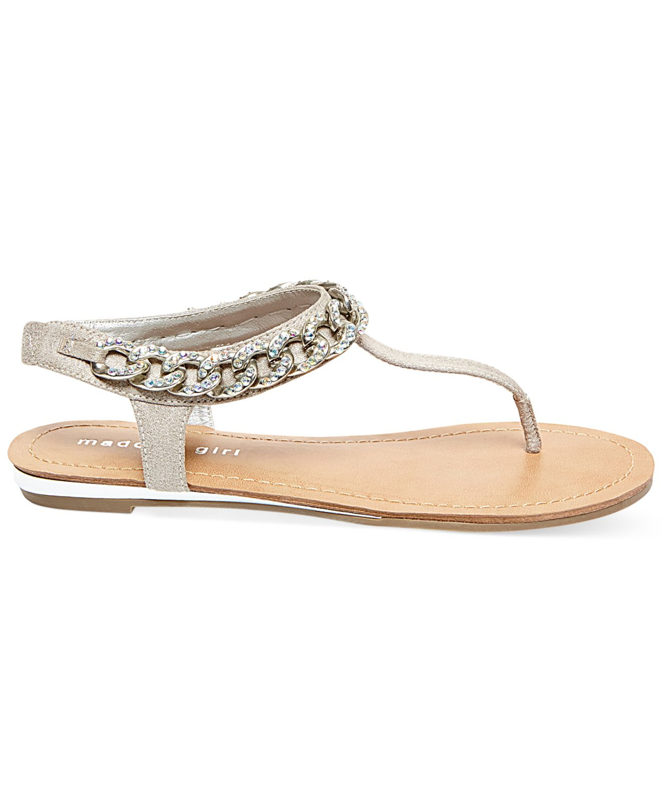 13f31a345 Lyst - Madden Girl Classic T-Strap Chain Flat Thong Sandals in Metallic