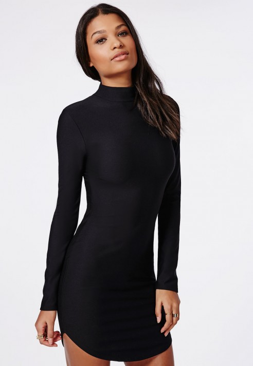 Missguided High Neck Long Sleeve Curve Hem Mini Dress Black in ...