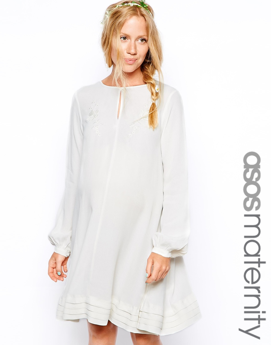 Asos pretty embroidered swing dress in white lyst gallery womens swing dresses ombrellifo Images