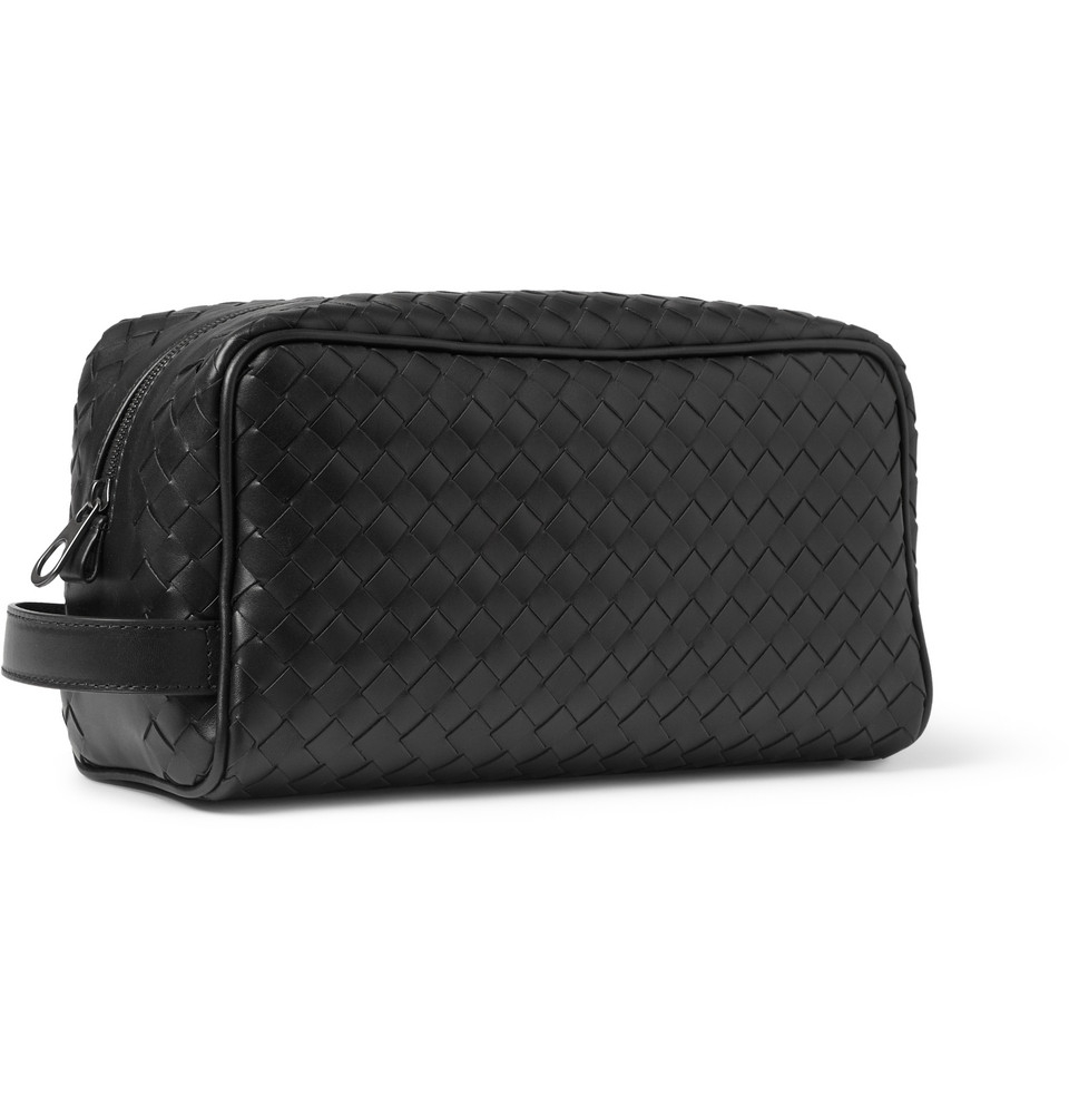 81dc2403a1 Lyst - Bottega Veneta Intrecciato Leather Wash Bag in Black for Men