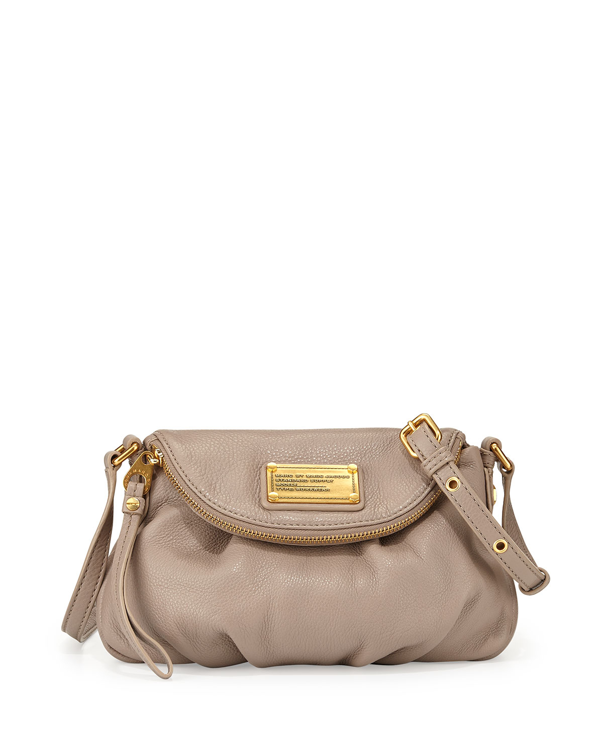 lyst marc by marc jacobs classic q mini natasha flap crossbody bag cement in gray. Black Bedroom Furniture Sets. Home Design Ideas
