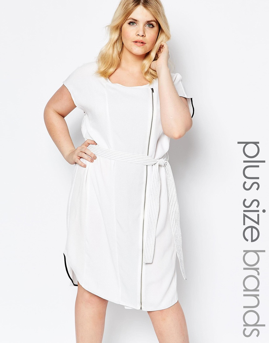 Lyst Carmakoma Zip Front Shift Dress With Belt Detail White In White