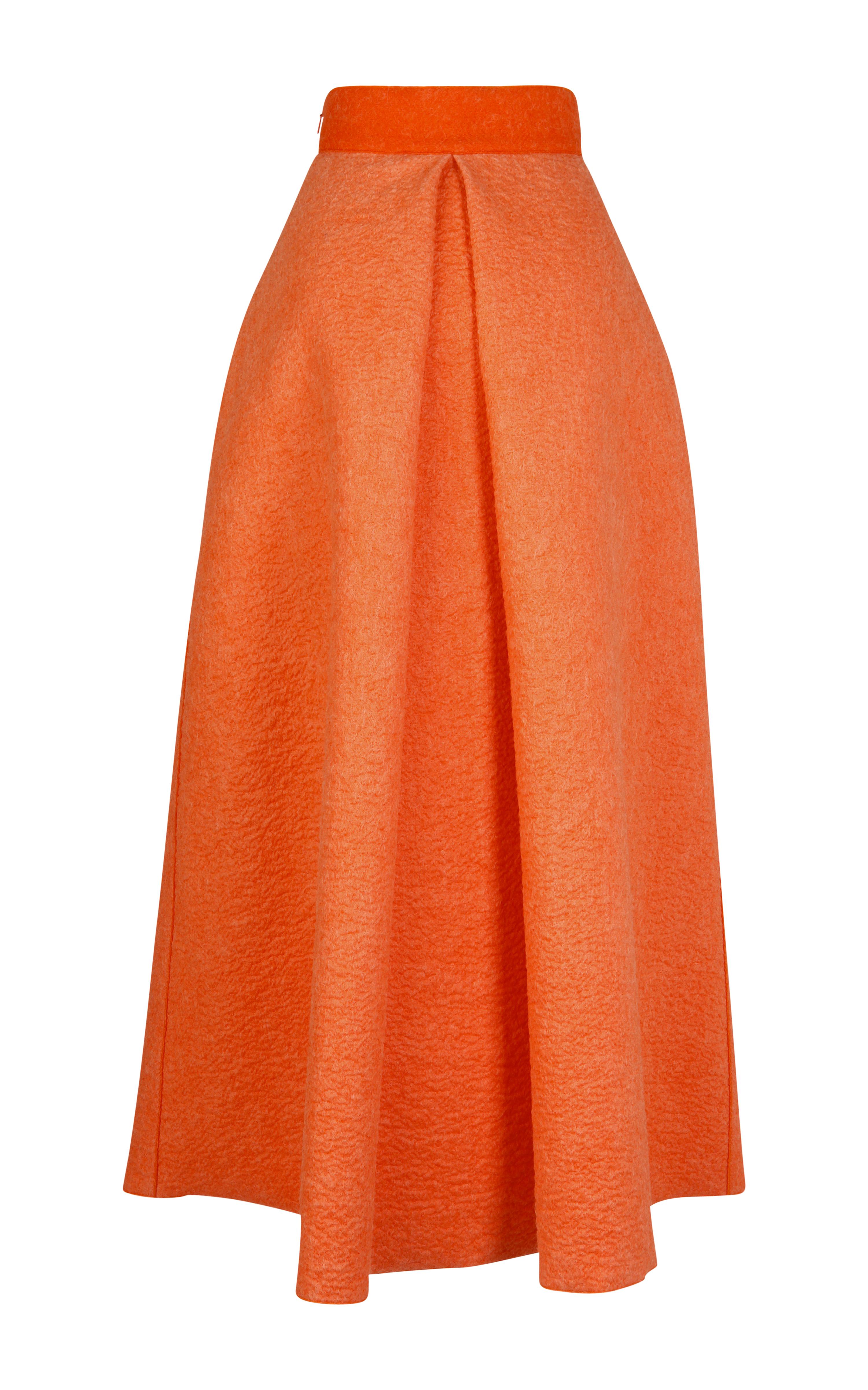 roksanda midi wool alia skirt in orange terracotta lyst