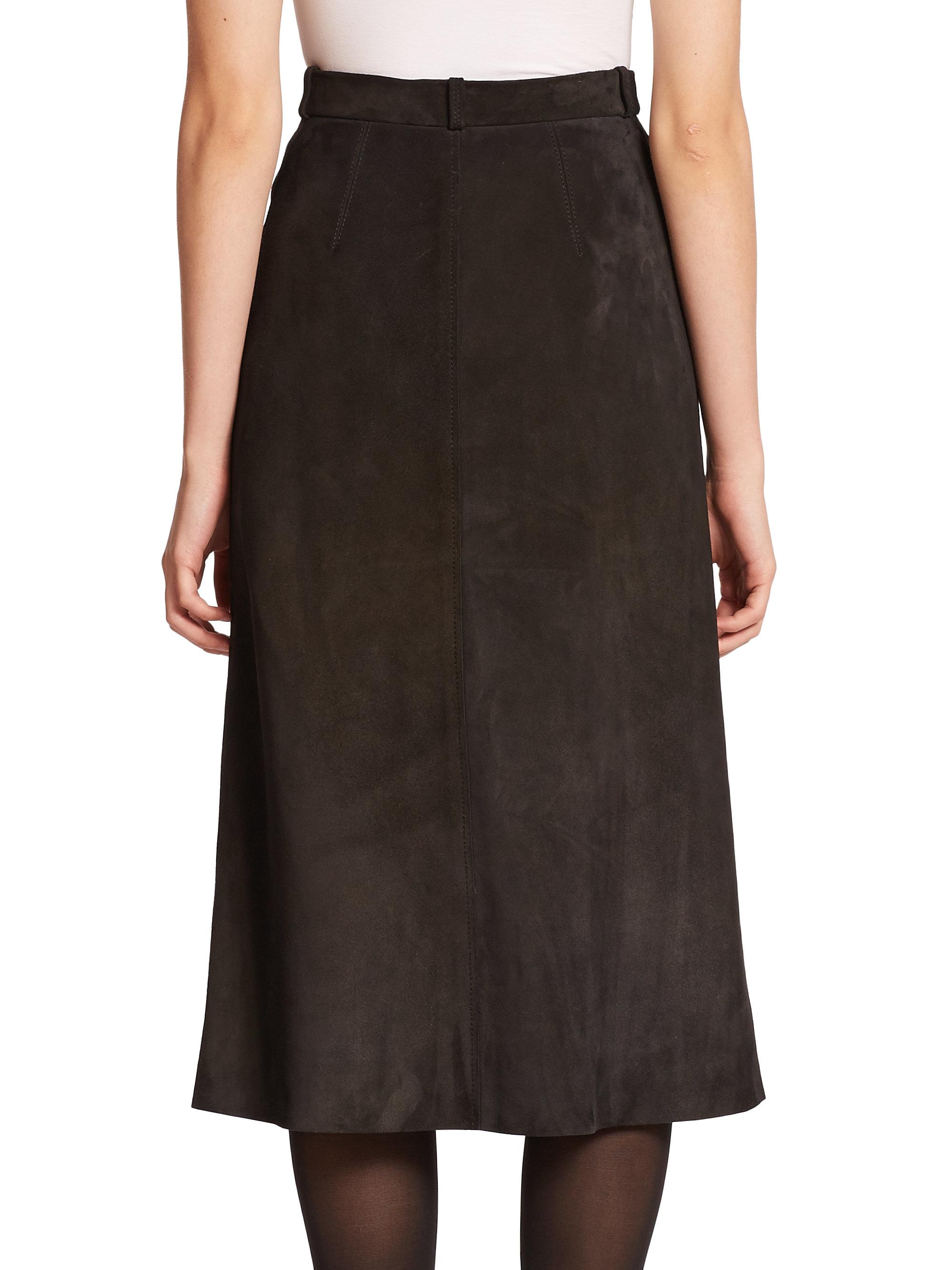 helmut lang suede midi skirt in brown lyst