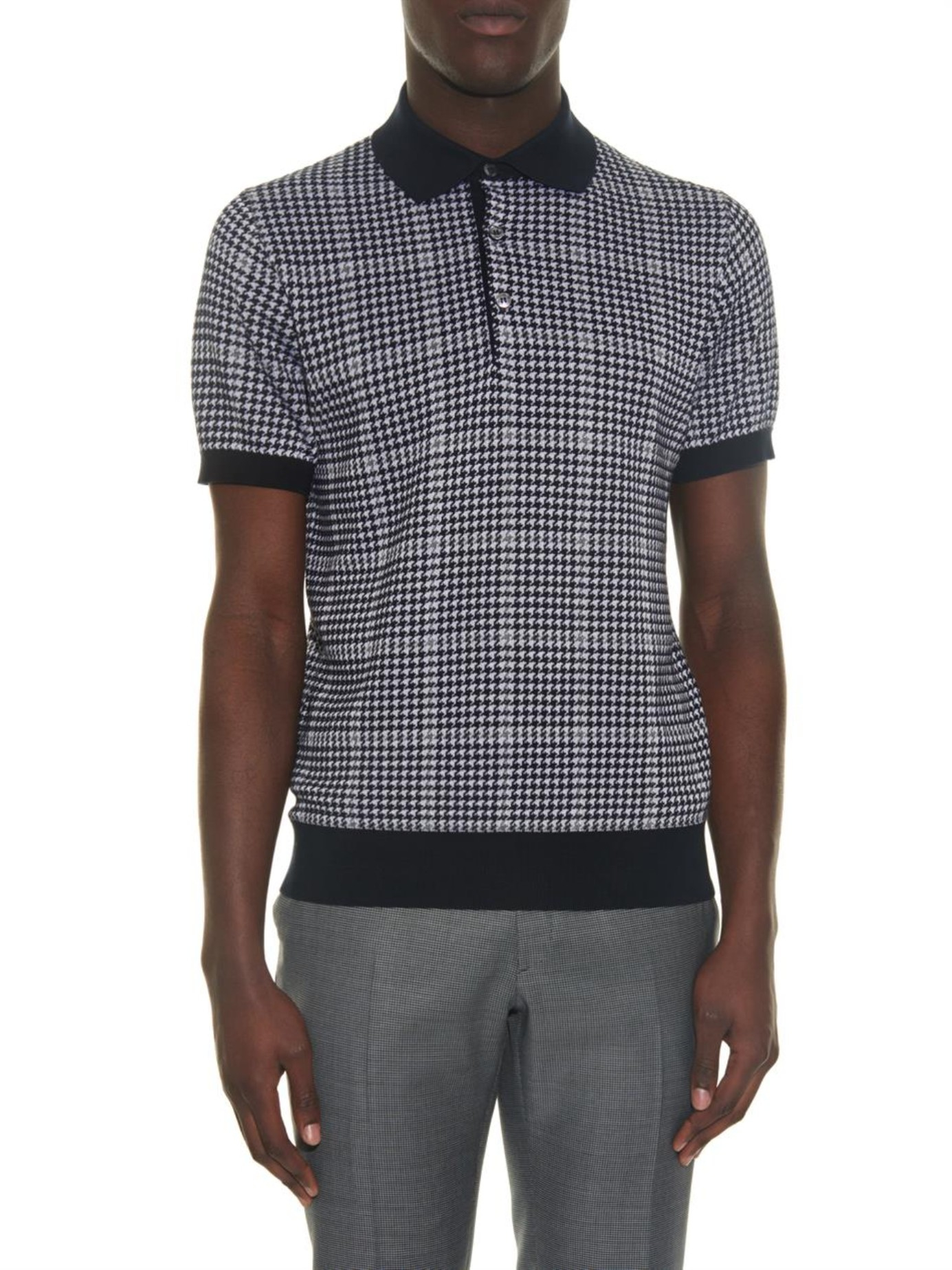 Lyst brioni houndstooth knitted polo shirt in blue for men for Knitted polo shirt mens