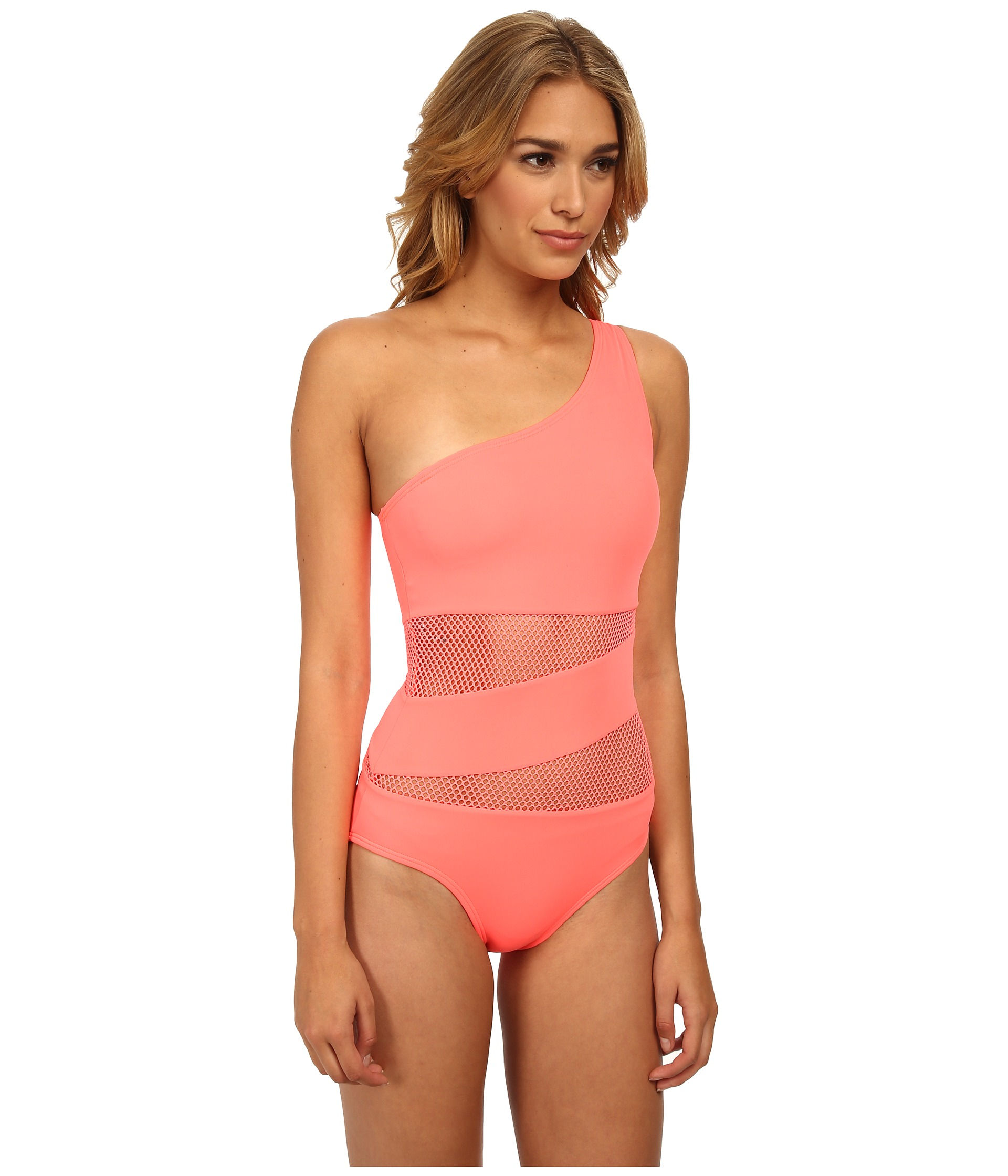 c2eb5cd624bd0 DKNY Mesh Effect Splice One Shoulder Maillot One-Piece in Pink - Lyst