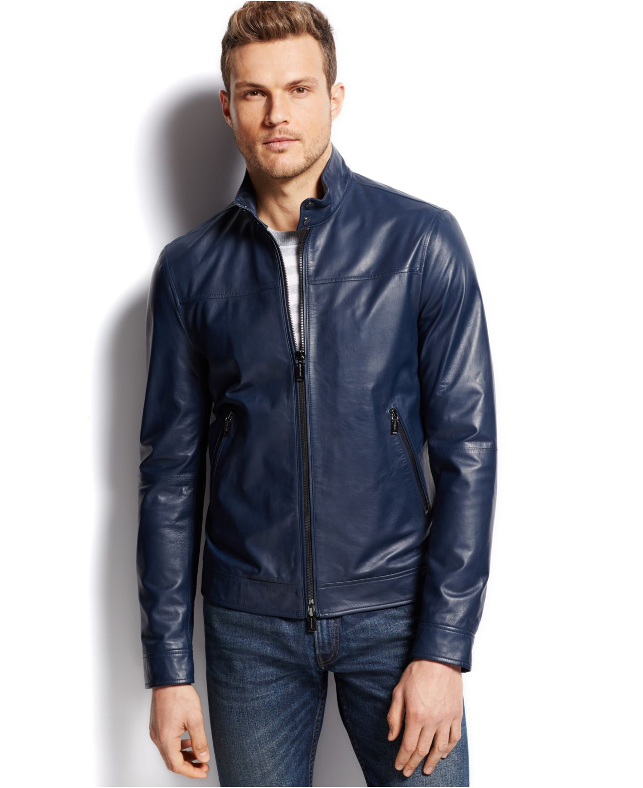 Michael kors Harrington Leather Jacket in Blue for Men | Lyst
