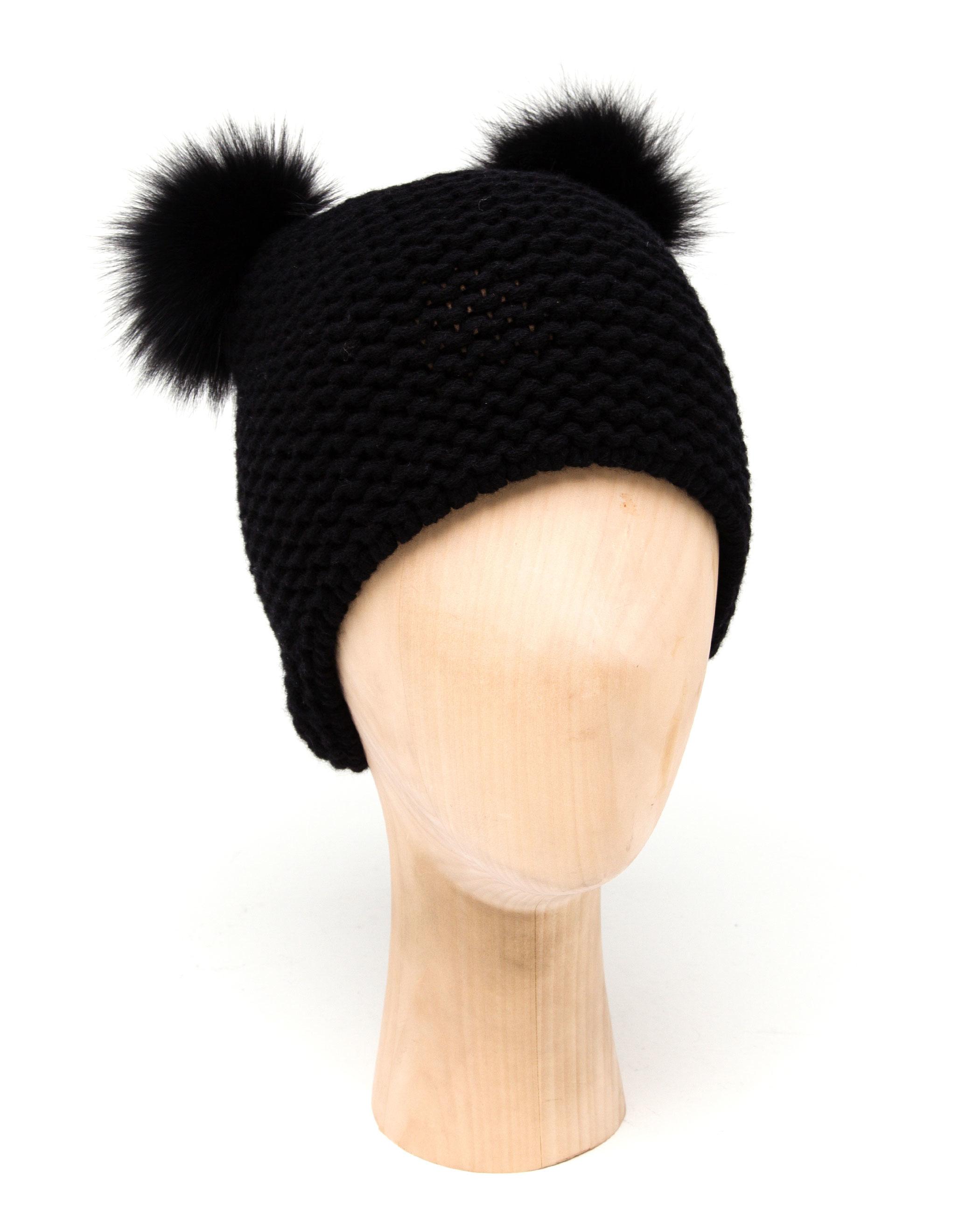 Lyst - Inverni Cashmere Hat With Fox Fur Pom Poms in Black