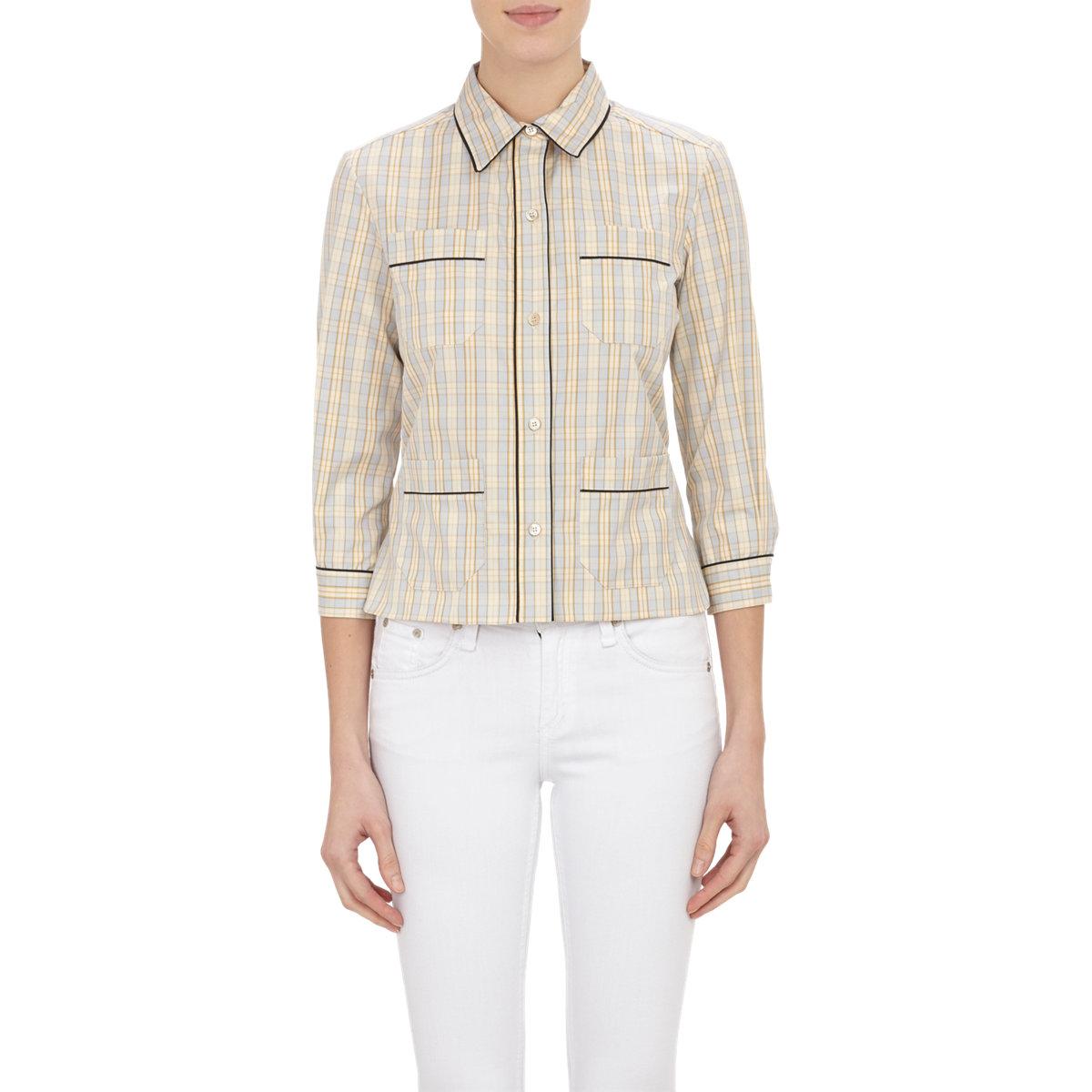 Marni women 39 s plaid shirt in gray lyst for Grey plaid shirt womens