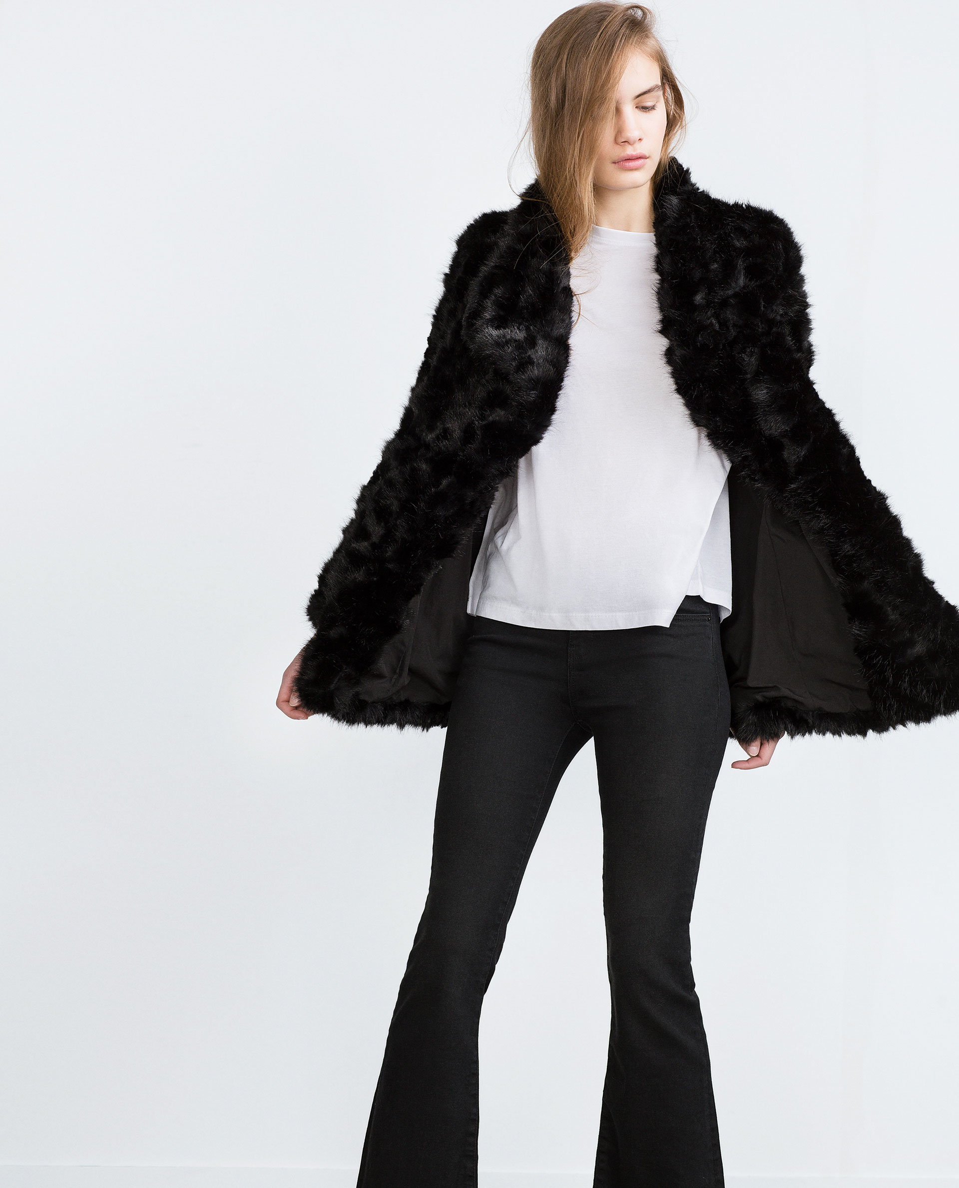 Zara Faux Fur Coat in Black | Lyst